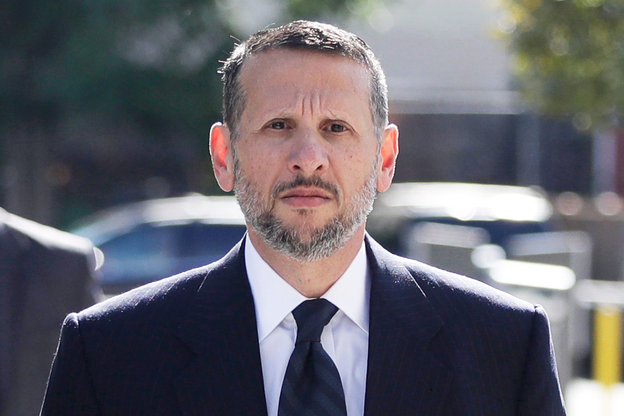 FILE - In this Sept. 23, 2016, file photo, David Wildstein arrives at Martin Luther King Jr. Federal Courthouse in Newark, N.J. Wildstein pleaded guilty last year to orchestrating traffic jams in 2013 to punish a Democratic mayor who didn't endorse Gov. Chris Christie. The former high-ranking official at the Port Authority who attended high school with Christie, testified that Christie was told about the traffic in Fort Lee on the third day of the gridlock during a Sept. 11 memorial event. (AP Photo/Julio Cortez, File)