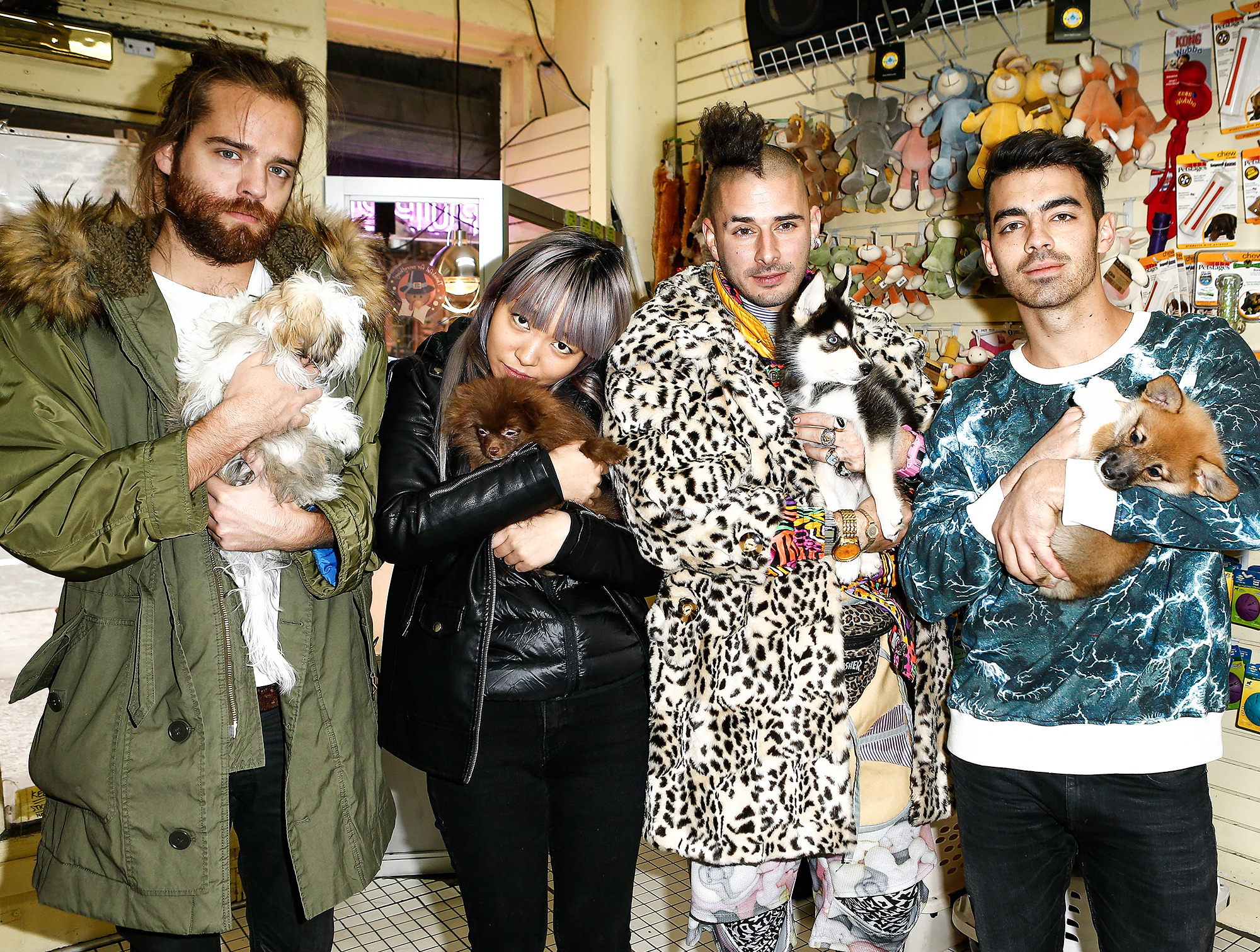 *EXCLUSIVE* DNCE celebrates their album release and the success of 'Body Moves' with a puppy schmooze