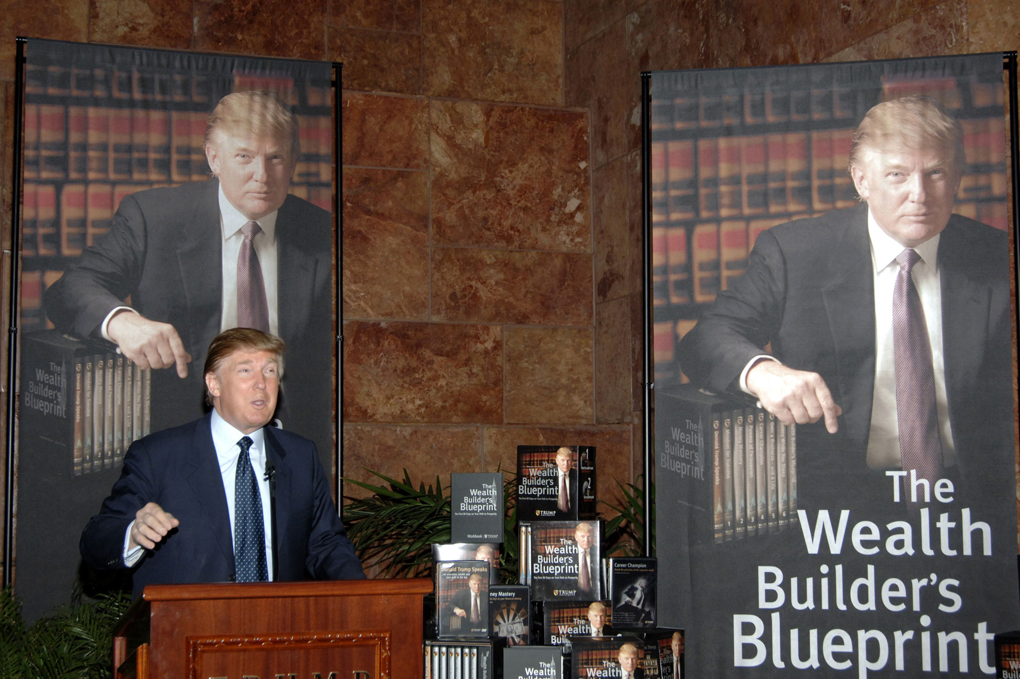 Donald Trump during Donald Trump Establishes Trump University - May 23, 2005 at Trump Towers in New York City, New York, United States. (Photo by Carvalho/FilmMagic)