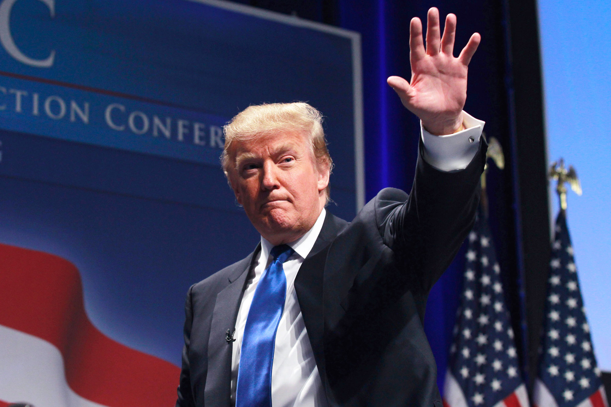 FILE - In this Feb, 10, 2011 file photo, Donald Trump waves after addressing the Conservative Political Action Conference (CPAC) in Washington. Ready or not, the 2012 presidential campaign is under way in earnest a full 18 months before Election Day. The GOP field _ still muddy and made up of no less than a dozen people _ will become clearer in coming days as more Republicans declare they'll run or sit out _ and President Barack Obama's schedule already is packed with fundraisers and visits to states important to his re-election chances. (AP Photo/Alex Brandon, File) Donald Trump 2011 AP WX402 Campaign 2012 AP STF