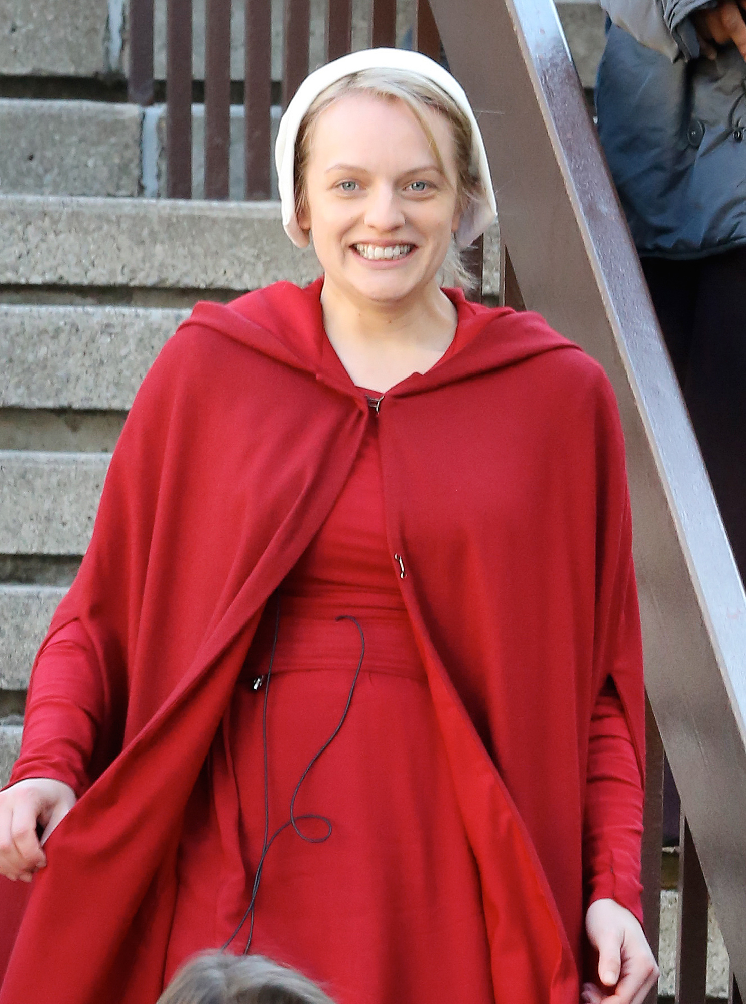EXCLUSIVE: Elisabeth Moss in Costume as 'Offred' in The Handmaid's Tale, Filming in Toronto.