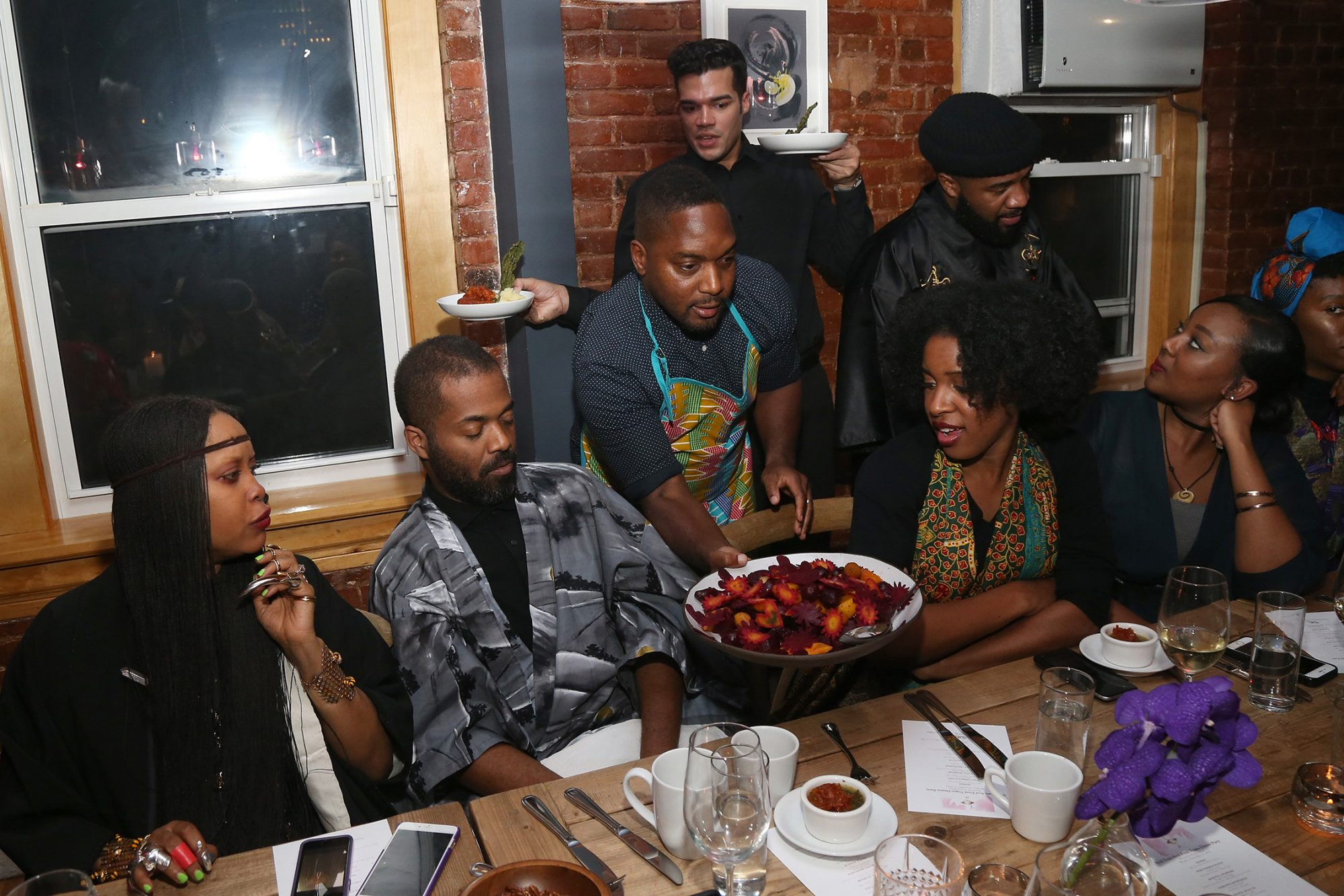 NEW YORK, NY - NOVEMBER 21: Chef Bryant Terry serves a dish during the Soul Train Soul Food Vegan Dinner Party on November 21, 2016 in New York City. (Photo by Bennett Raglin/Getty Images for BET)