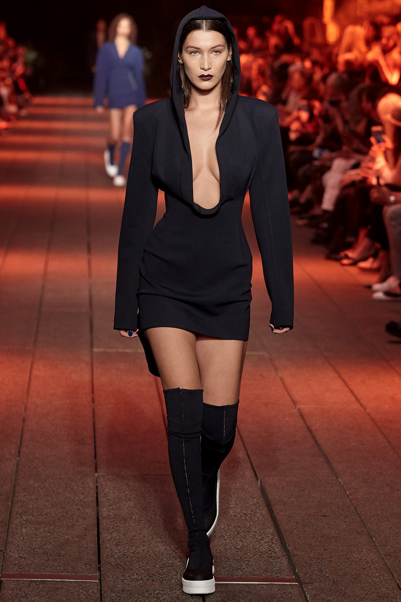 Bella Hadid walks the runway wearing DKNY Spring 2017 on the highline during New York Fashion Week on September 12, 2016 in New York City.