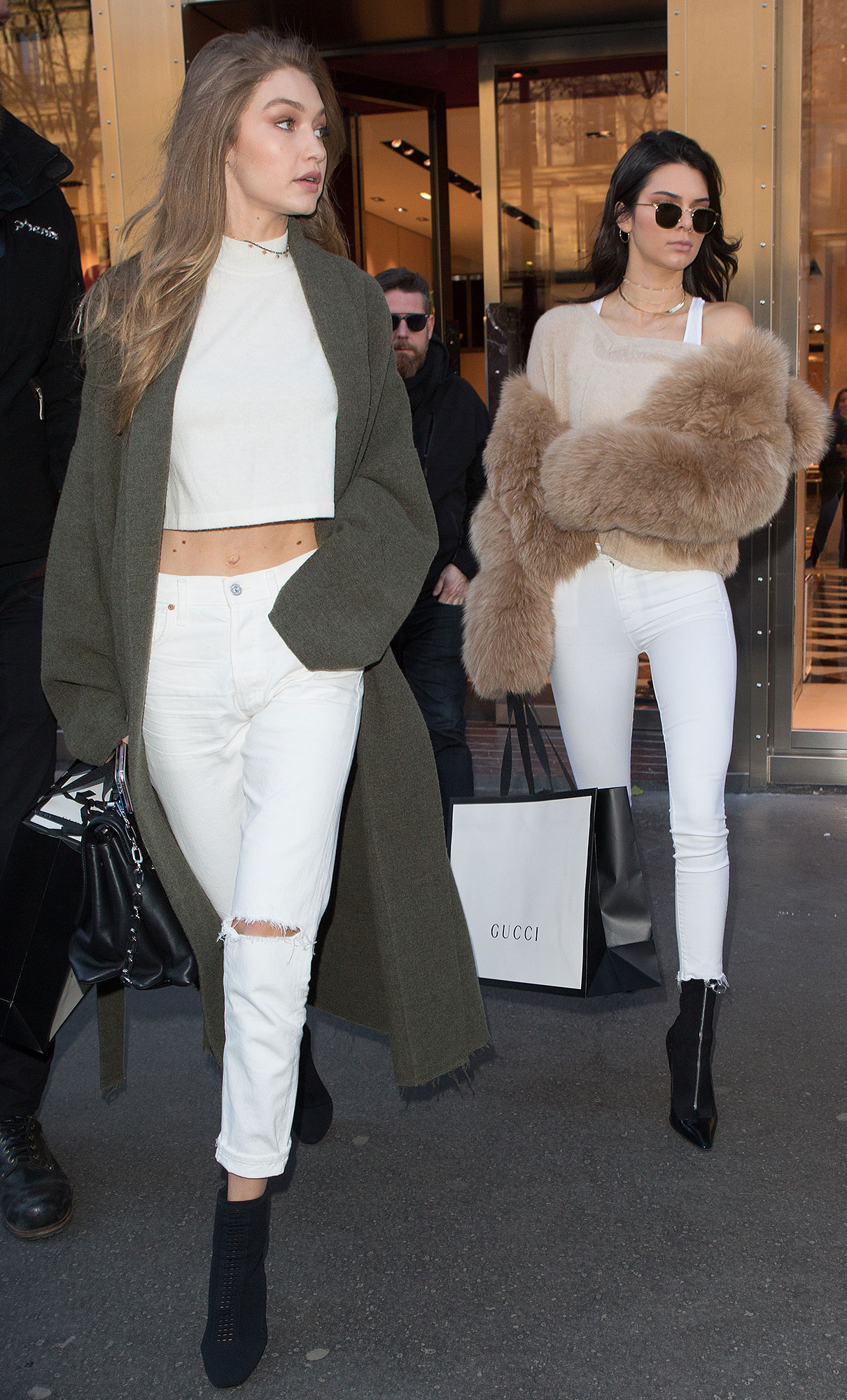 52241998 Models Gigi Hadid and Kendall Jenner are spotted shopping at the Gucci Store in Paris, France on November 28, 2016. The famous friends are in town for the 2016 Victoria's Secret Fashion Show. FameFlynet, Inc - Beverly Hills, CA, USA - +1 (310) 505-9876 RESTRICTIONS APPLY: USA ONLY
