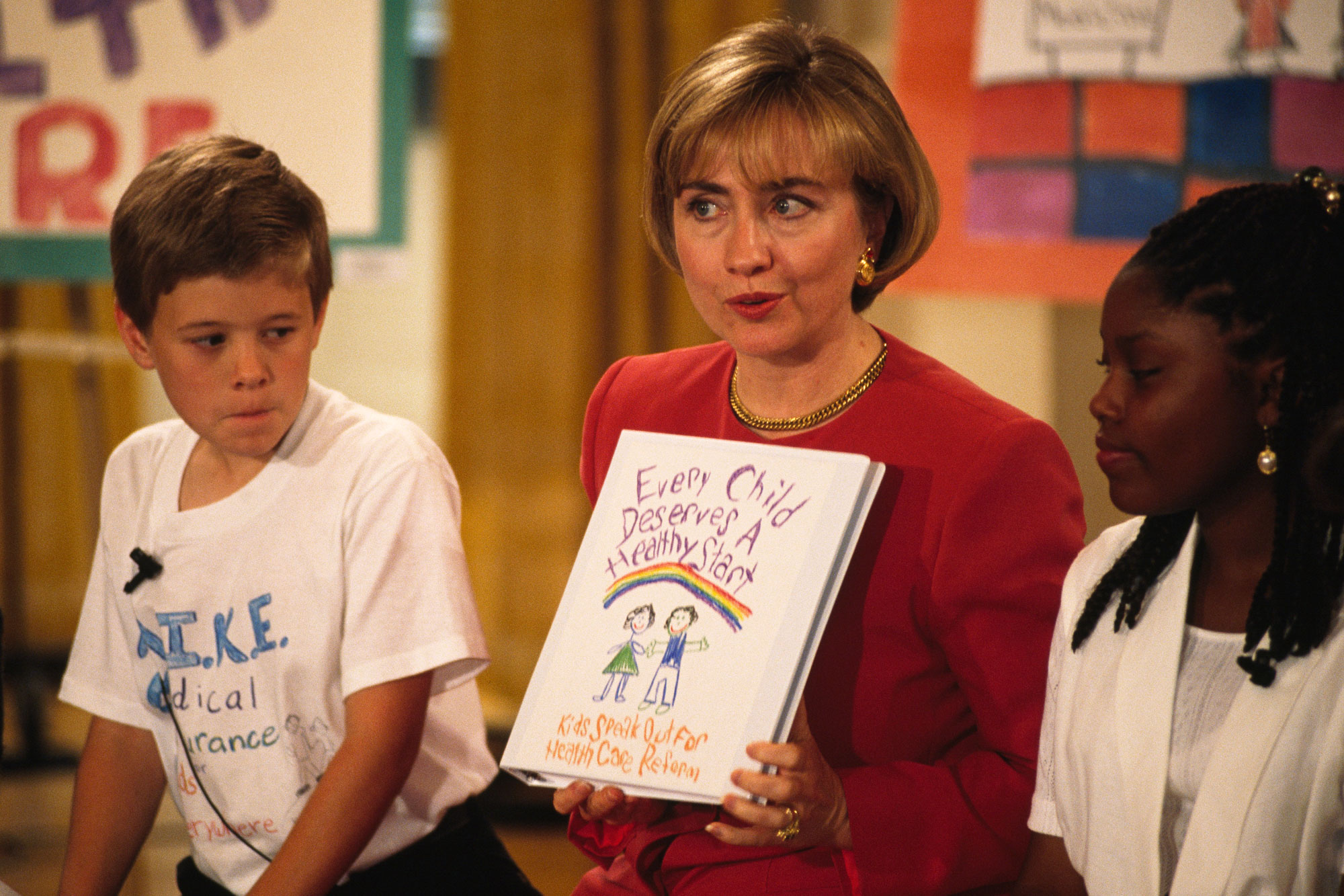 Hillary Clinton meets with 12 chidren in response to their letter to the President concerning their health problems. (Photo by Jeffrey Markowitz/Sygma via Getty Images)