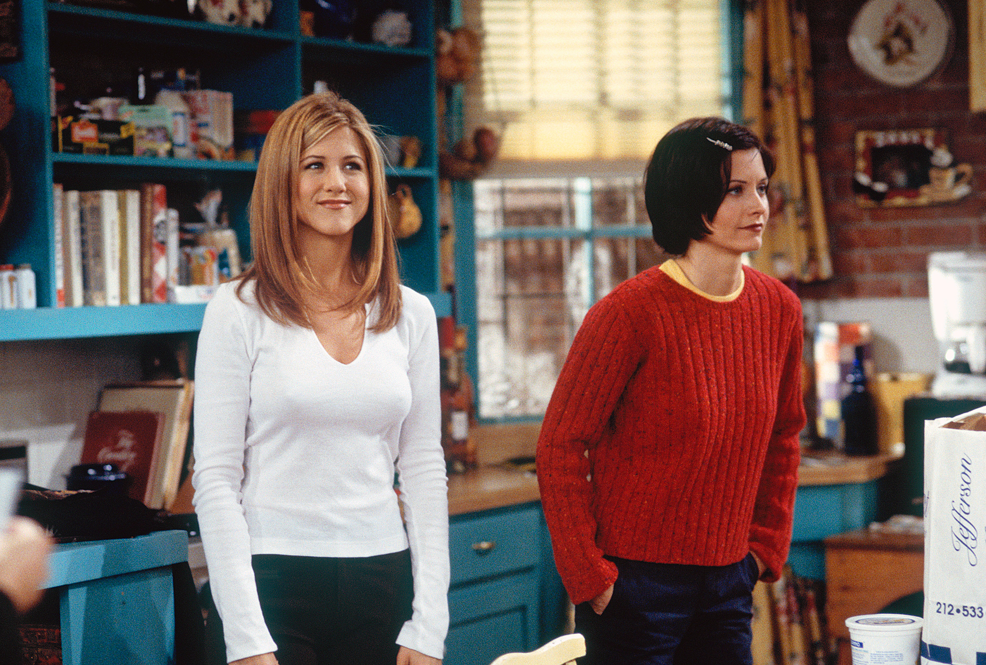"""FRIENDS -- """"The One with the Embryos"""" Episode 12 -- Pictured: (l-r) Jennifer Aniston as Rachel Green, Courteney Cox as Monica Geller (Photo by J. Delvalle/NBC/NBCU Photo Bank via Getty Images)"""
