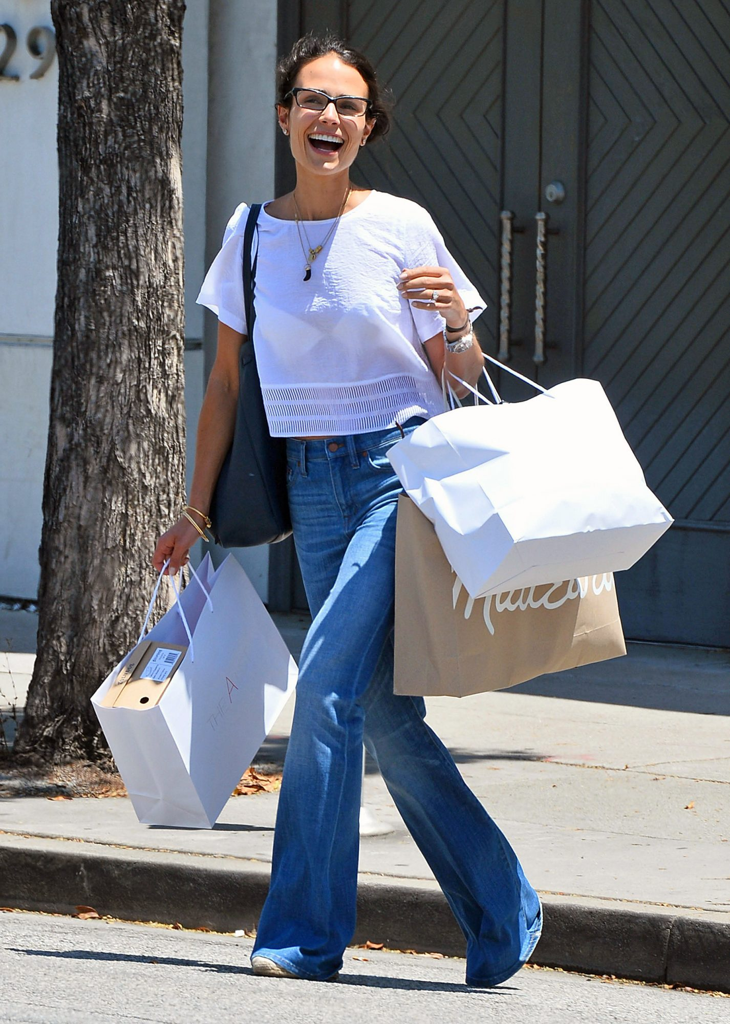 Jordana Brewster Shops Madewell in Bell Bottom Jeans