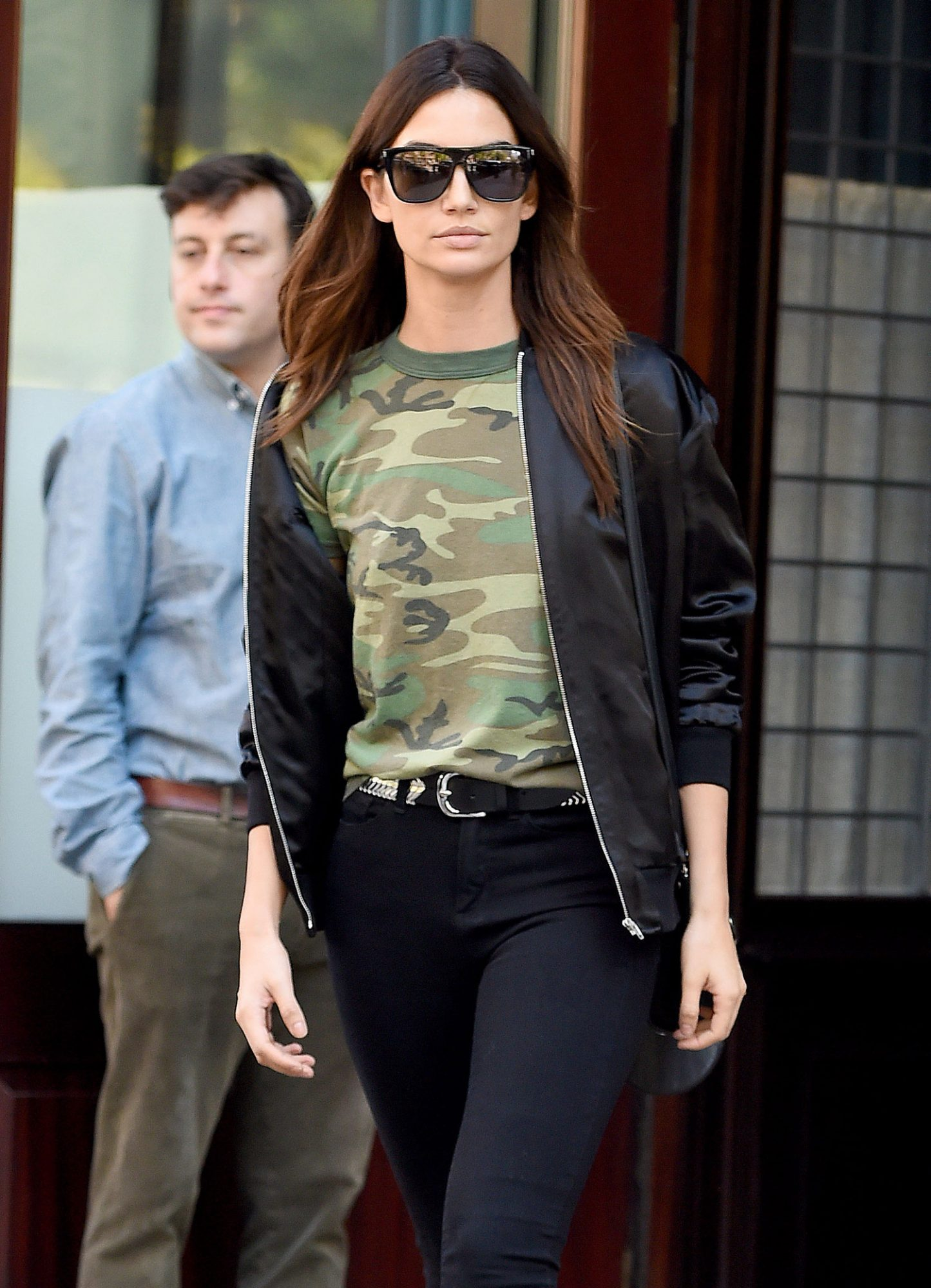 Lily Aldridge seen wearing a camouflage tee shirt in New York City