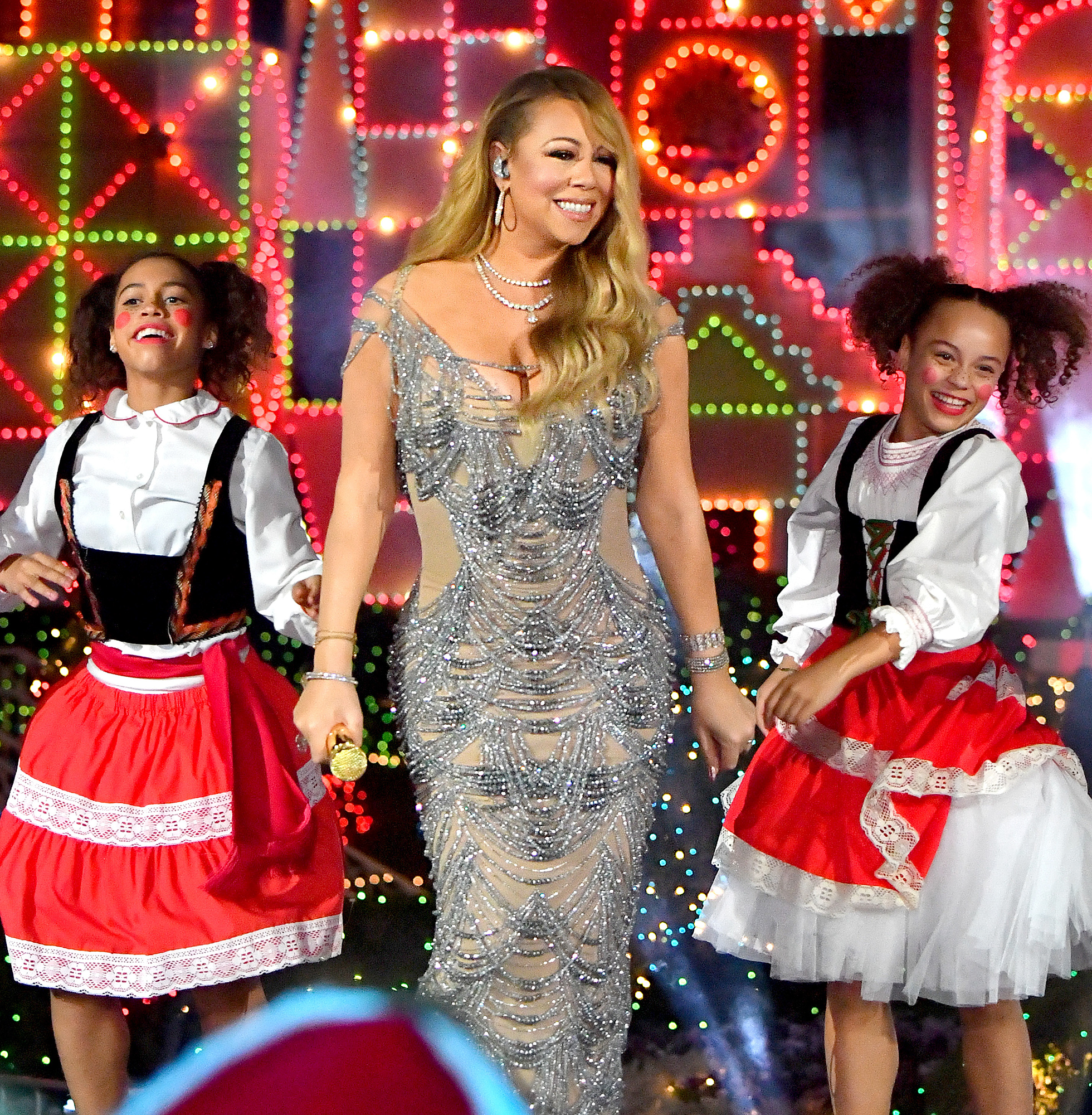 Mariah Carey performs at Disneyland for their Christmas special