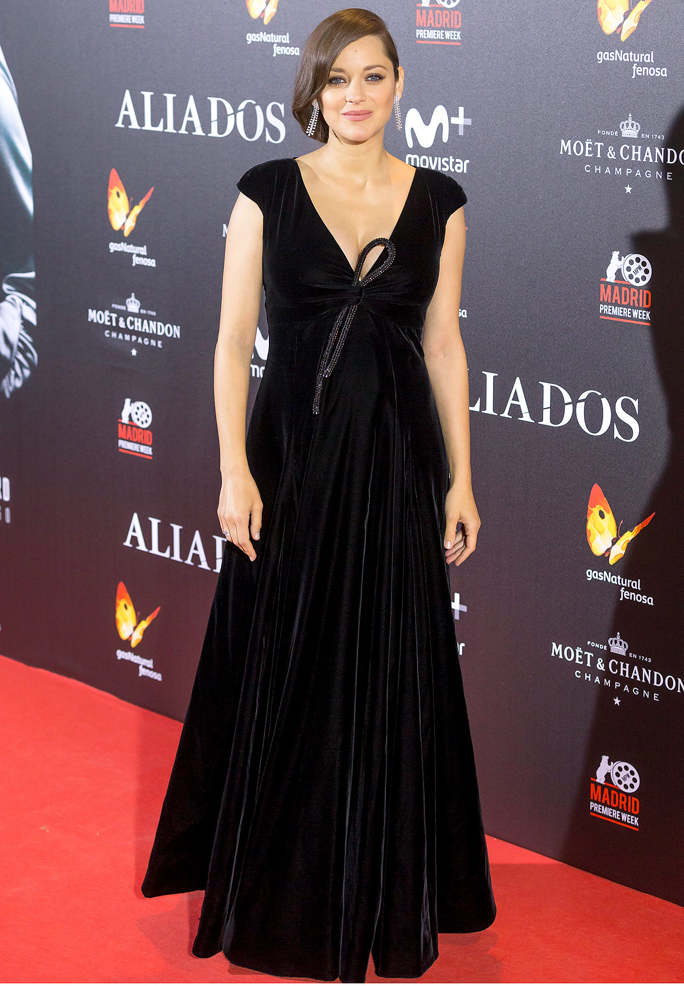 Marion Cotillard and  Brad Pitt attend the Madrid premiere of the Paramount Pictures title 'Allied' (Aliados) at Callao City Lights
