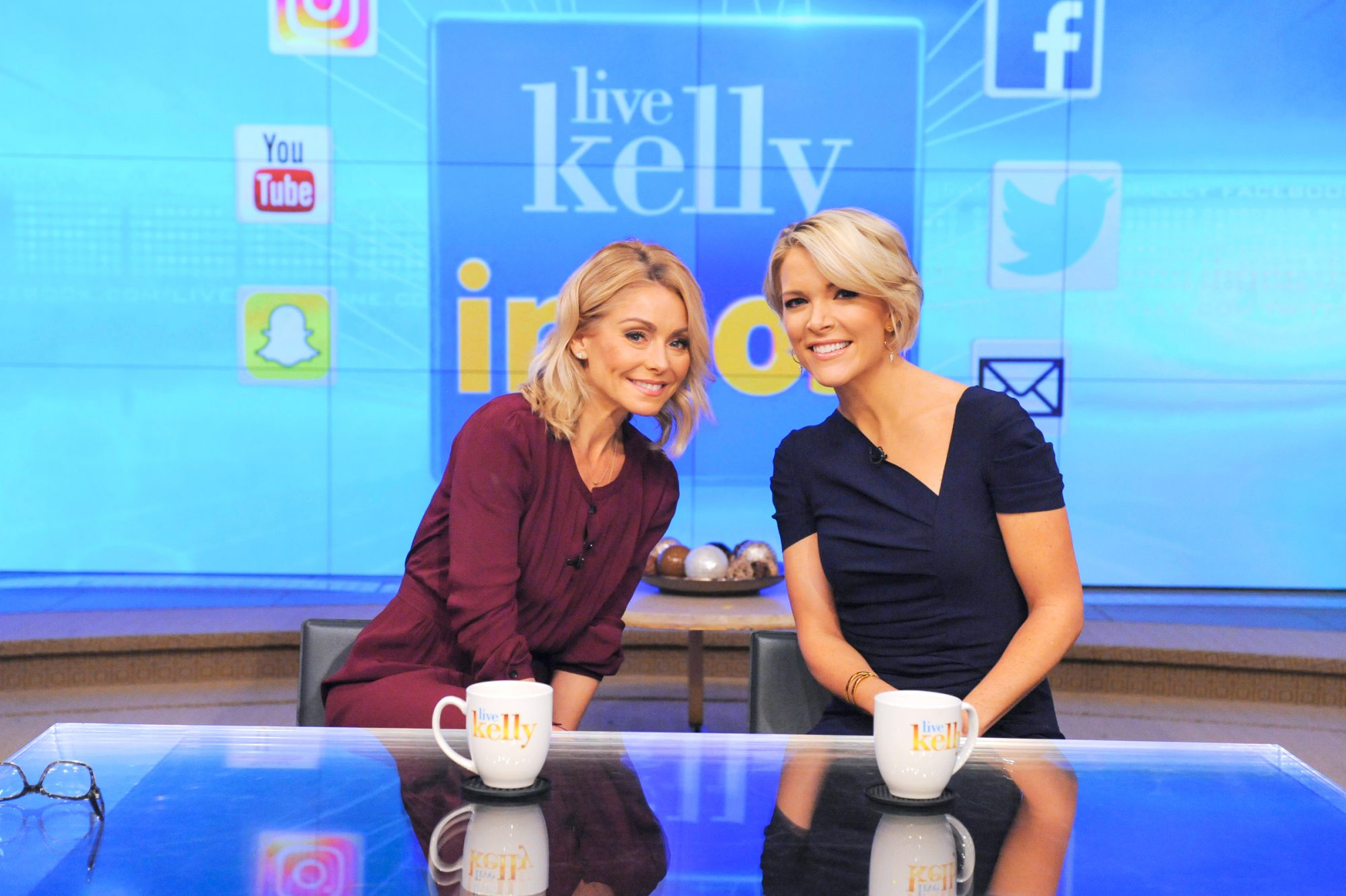 """Kelly Ripa and Megyn Kelly are pictured during the production of """"LIVE Kelly"""" in New York on Wednesday, November 9, 2016. Photo: Pawel Kaminski - Disney/ABC Home Entertainment and TV Distribution ©2016 Disney ABC. All Rights Reserved."""