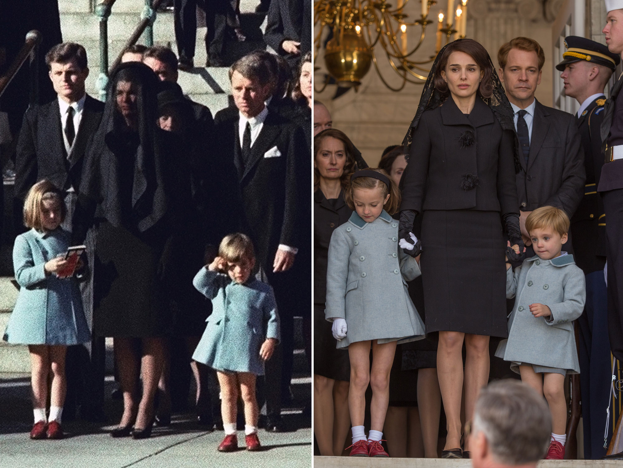 """456969.JPG 1CA9C02B Three-year-old John F. Kennedy Jr. salutes his father's casket in Washington on Nov. 25, 1963, three days after the president was assassinated in Dallas. Widow Jacqueline Kennedy, center, and daughter Caroline Kennedy are accompanied by the late president's brothers Sen. Edward Kennedy, left, and Attorney General Robert Kennedy. (AP Photo) JOHN F KENNEDY FUNERAL 1963 AP APHS025500 JFK FUNERAL AP Natalie Portman as """"Jackie Kennedy"""" in JACKIE. Photo by William Gray. © 2016 Twentieth Century Fox Film Corporation All Rights Reserved"""