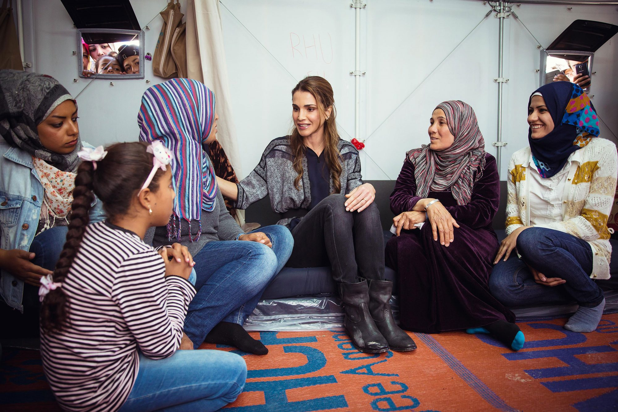 Queen Rania of Jordan visit to the Kara Tepe Camp in Lesbos, Greece on April 25, 2016, where she met with Syrian refugees
