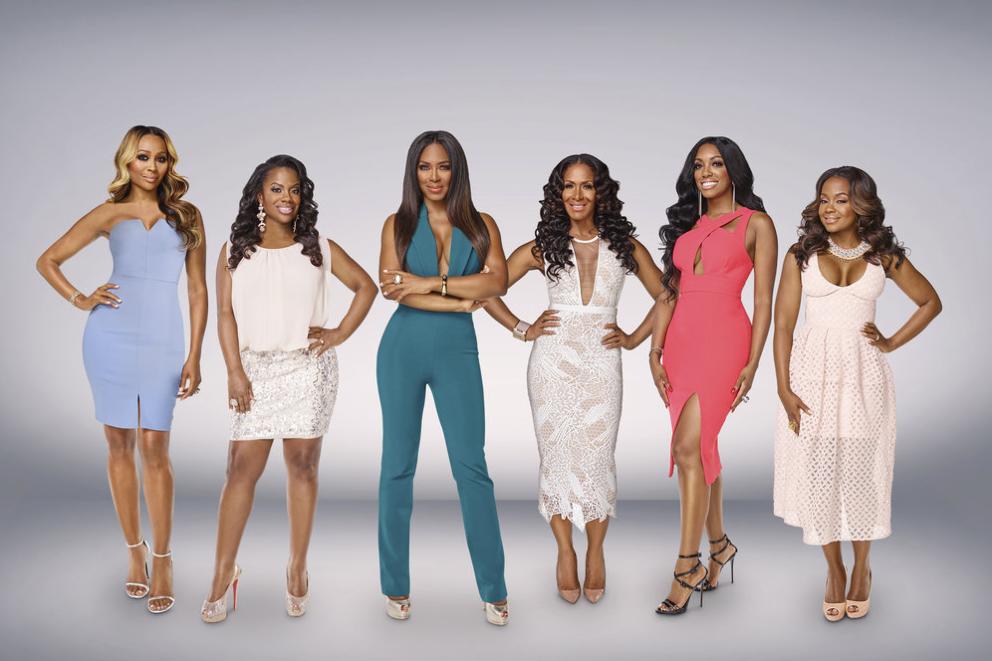 THE REAL HOUSEWIVES OF ATLANTA -- Season:9 -- Pictured: (l-r) Cynthia Bailey, Kandi Burruss, Kenya Moore, Sheree Whitfield, Porsha Williams, Phaedra Parks -- (Photo by: Mark Hill/Bravo)
