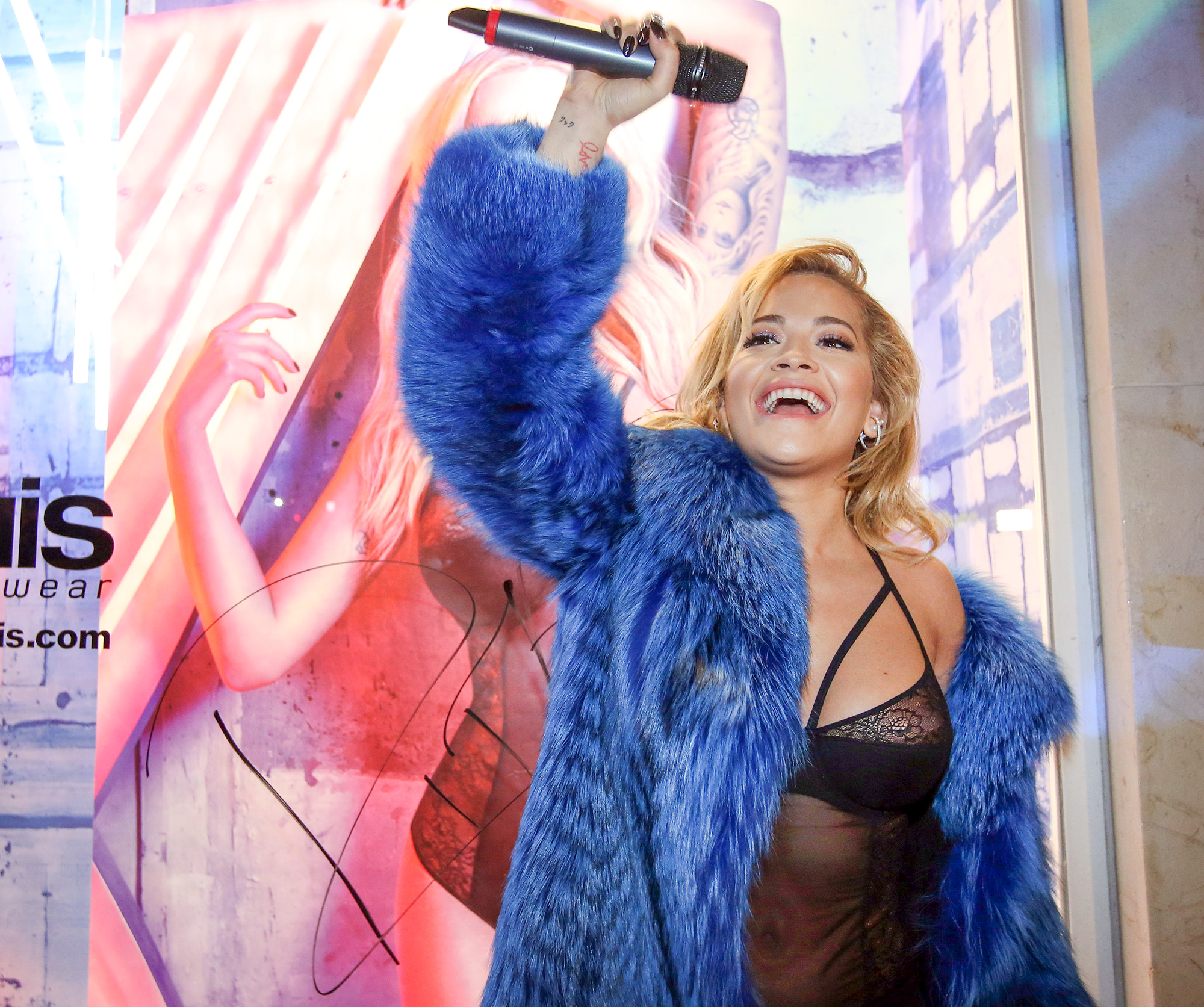 British singer Rita Ora performs live during the presentacion of her lingerie collection in Lisbon