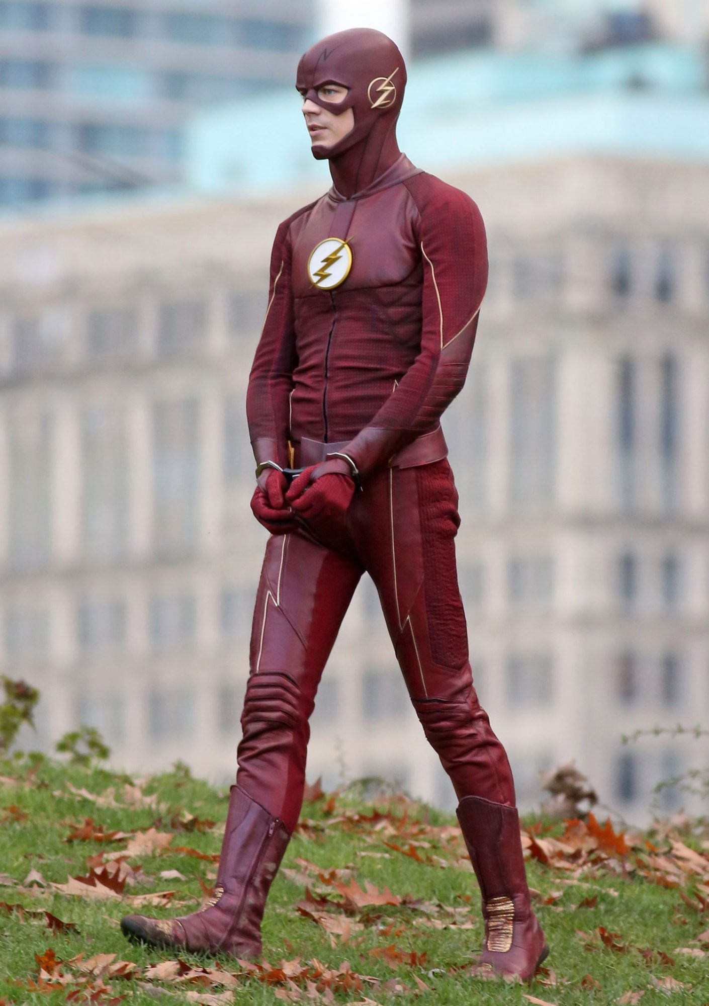 *EXCLUSIVE* Grant Gustin is handcuffed as he shoots scenes for 'The Flash'