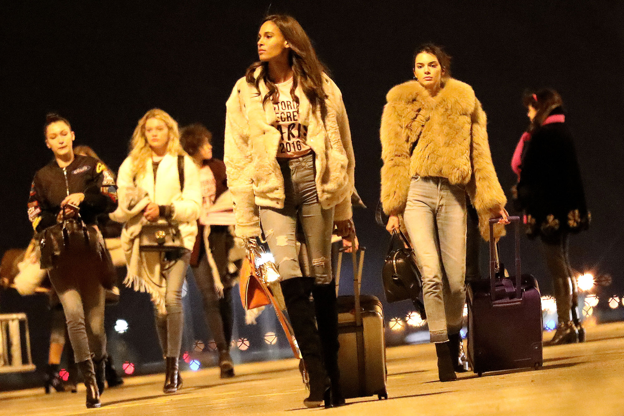 Victoria's Secret Angels at Roissy Airport. Pictured: Kendall Jenner, Bella Hadid and Joan Smalls Ref: SPL1400323 281116