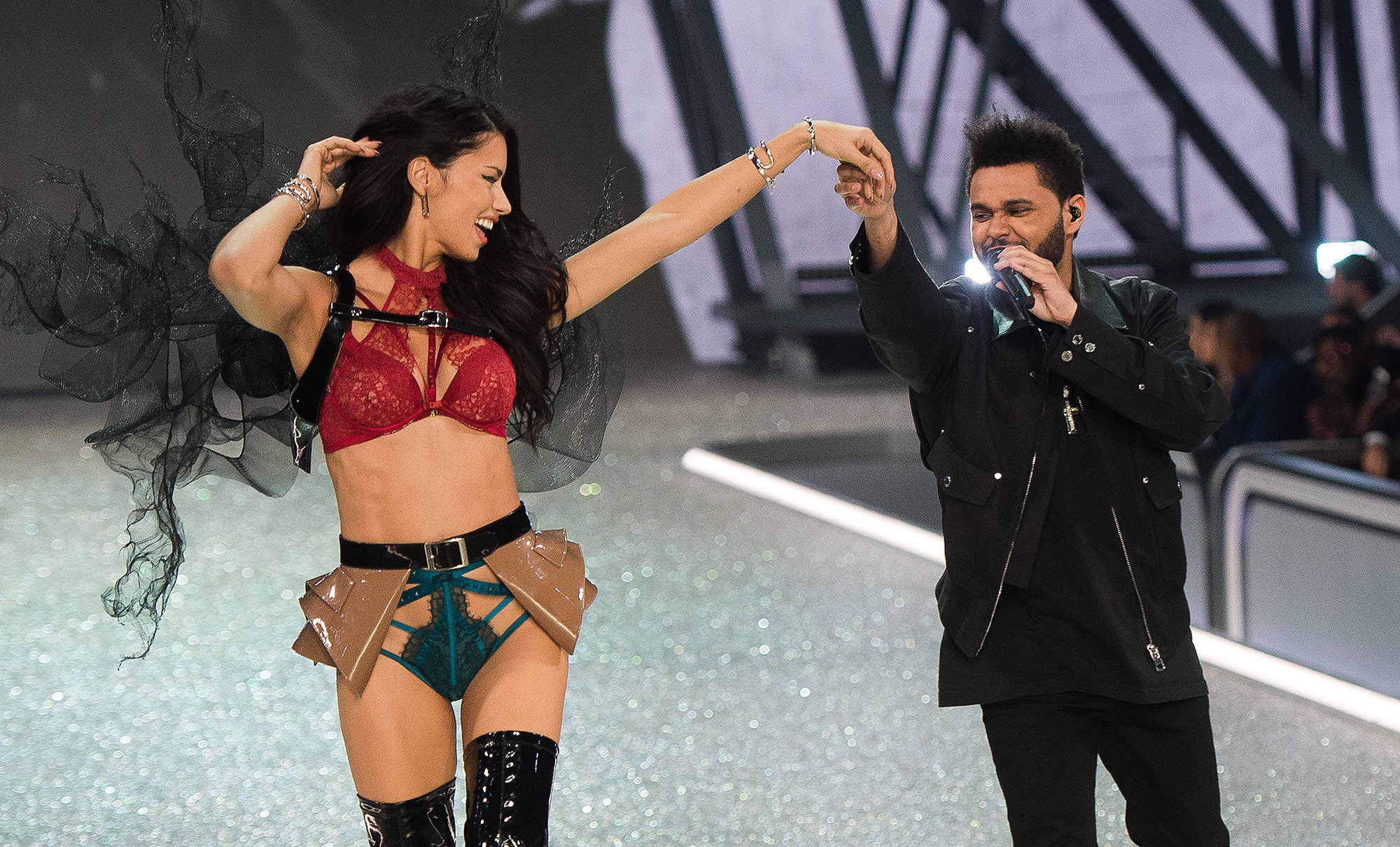 PARIS, FRANCE - NOVEMBER 30: Adriana Lima walks the runway as The Weeknd peforms during the annual Victoria's Secret fashion show at Grand Palais on November 30, 2016 in Paris, France. (Photo by Samir Hussein/Samir Hussein/WireImage)