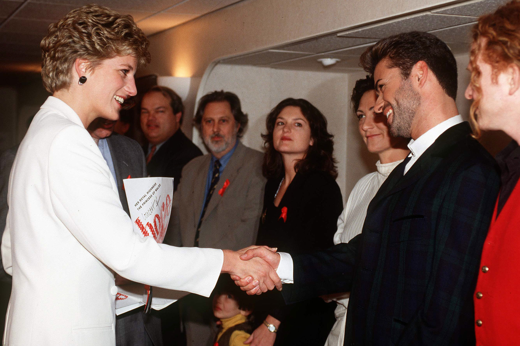 """Princess Diana Meeting Pop Singers George Michael, Kd Lang And Mick Hucknall At The World Aids Day Annual """"concert Of Hope"""" At Wembley Arena To Raise Funds For The Charity Crusaid On 1st December 1993"""