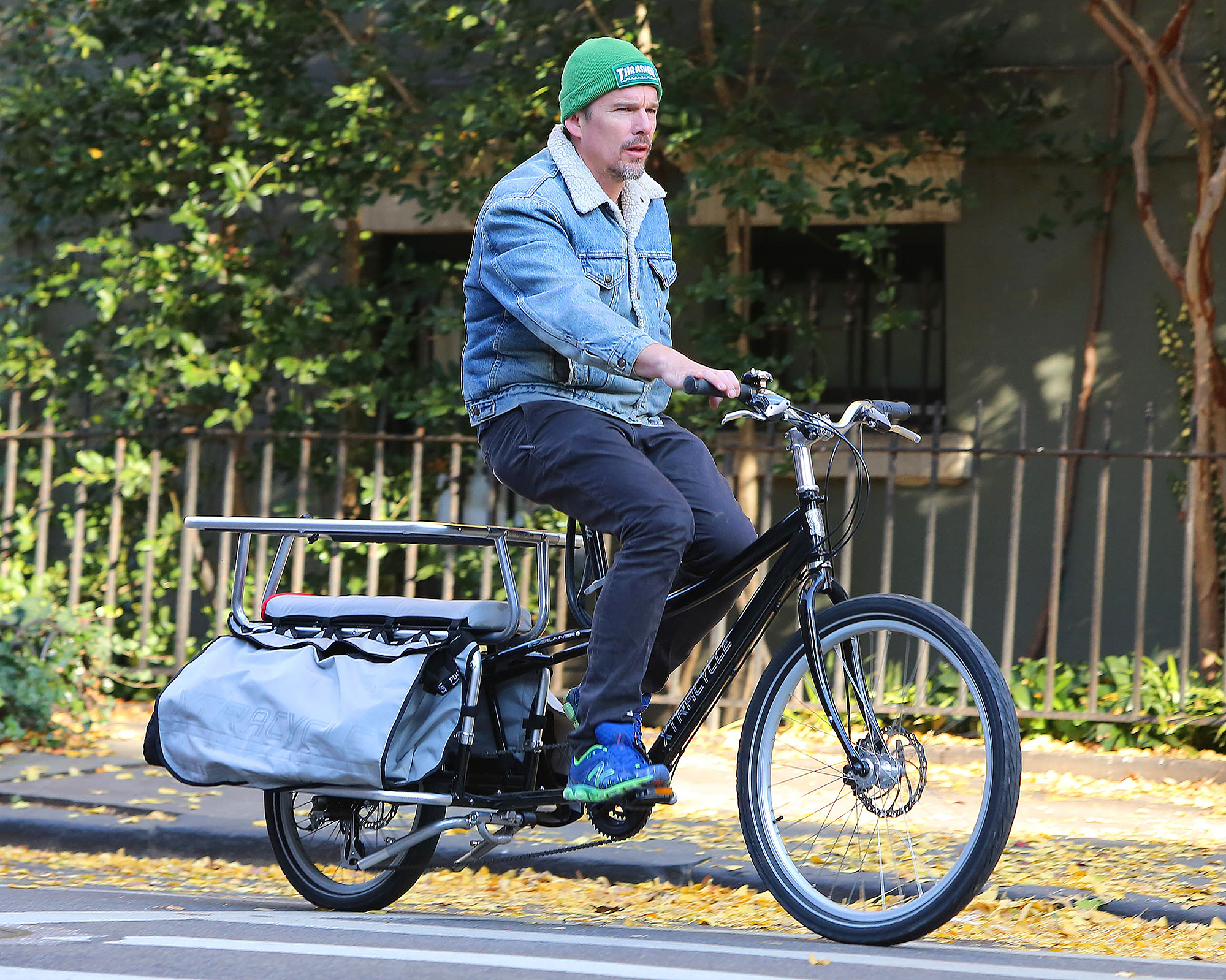 Ethan Hawke Spotted Riding his Bike in Brooklyn