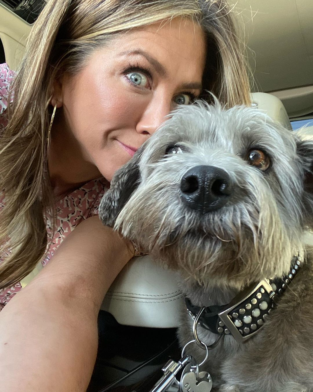 Jennifer Aniston and Clyde the dog