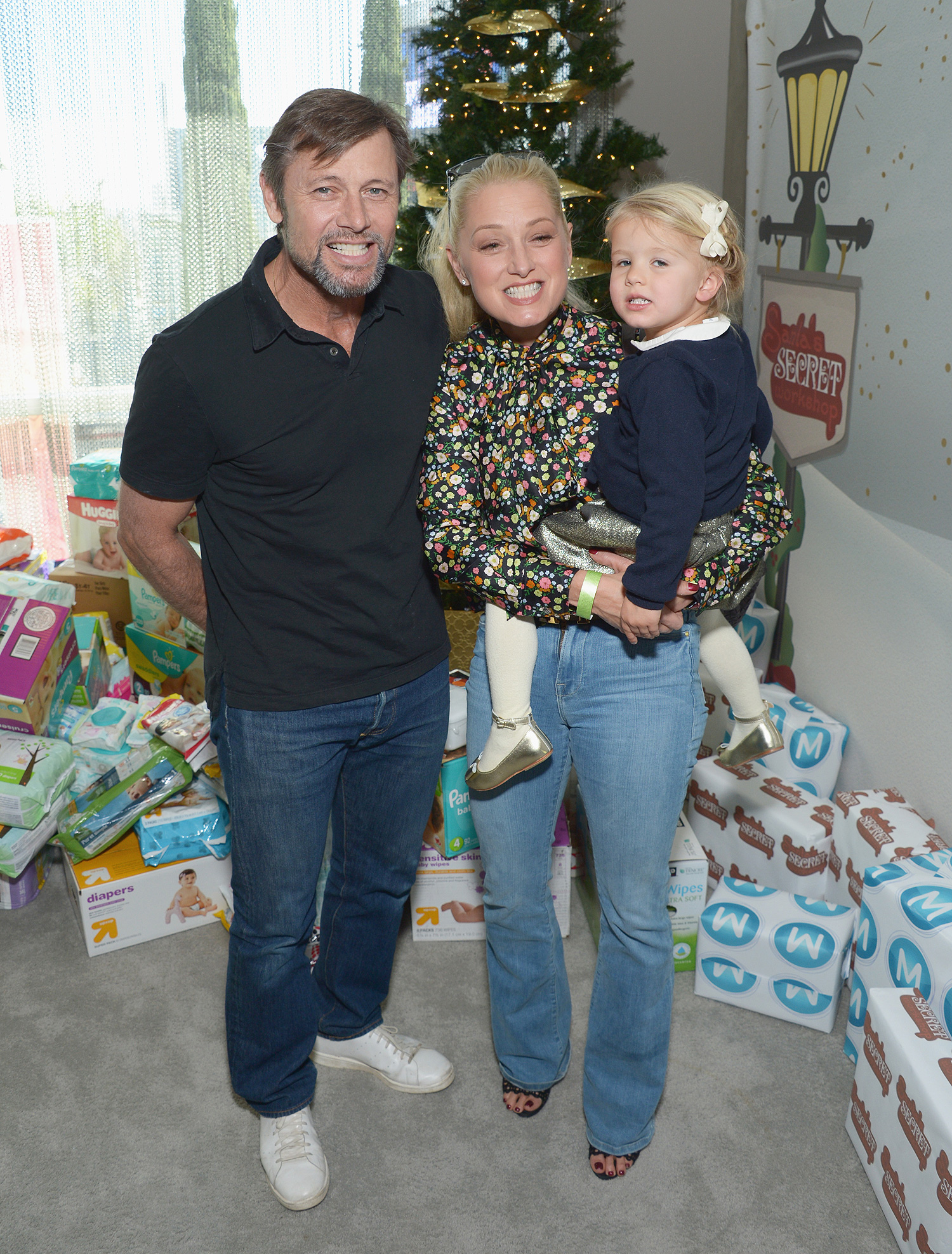 WEST HOLLYWOOD, CA - DECEMBER 03: (L-R) Actor Grant Show, actress Katherine LaNasa and daughter Eloise McCue Show attend 6th Annual Santa's Secret Workshop benefitting L.A. Family Housing at Andaz on December 3, 2016 in West Hollywood, California. (Photo by Matt Winkelmeyer/Getty Images for Santa's Secret Workshop 2016)