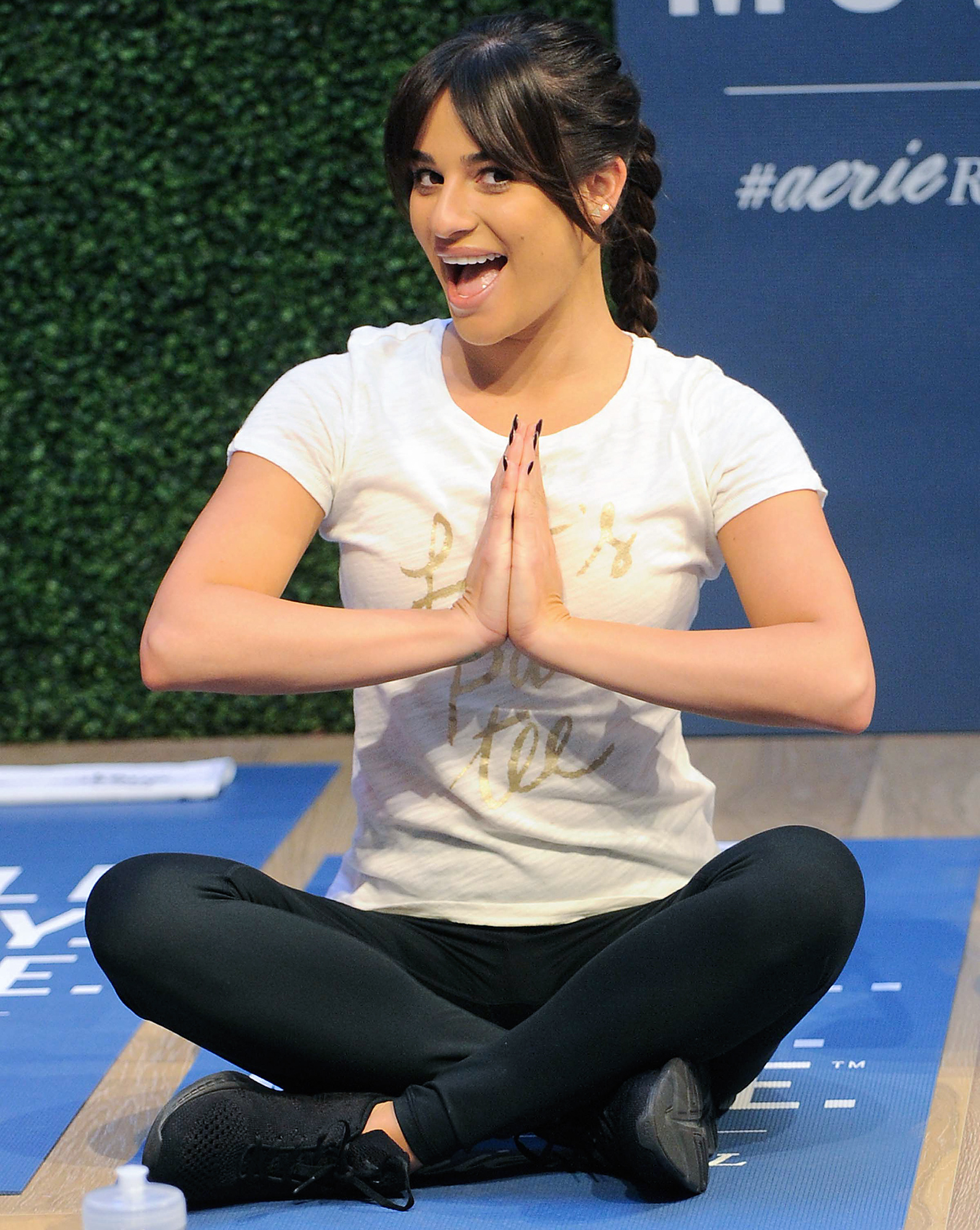 Lea Michelle Works Out and Meditates at a LIFTED class at the Aerie Pop-Up in Soho