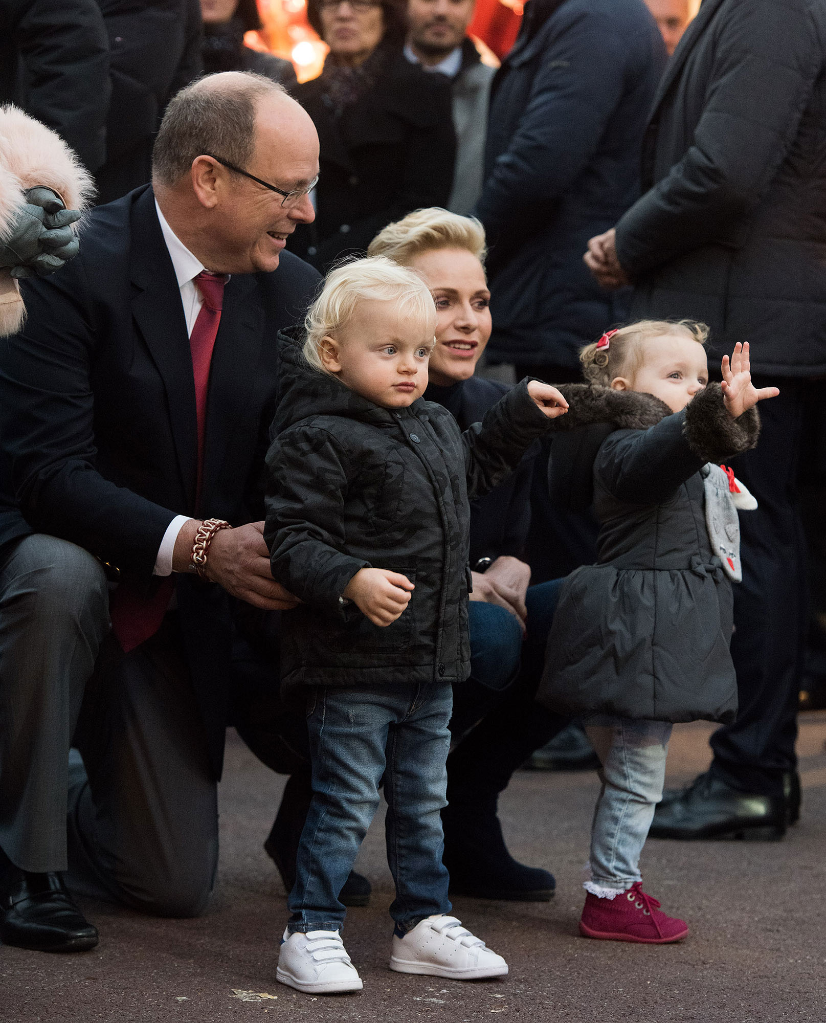 Princess Gabriella, Prince Jacques with parents Prince Albert II and Princess Charlene on December 3, 2015 at the inauguration of Monaco's traditional Christmas Village.
