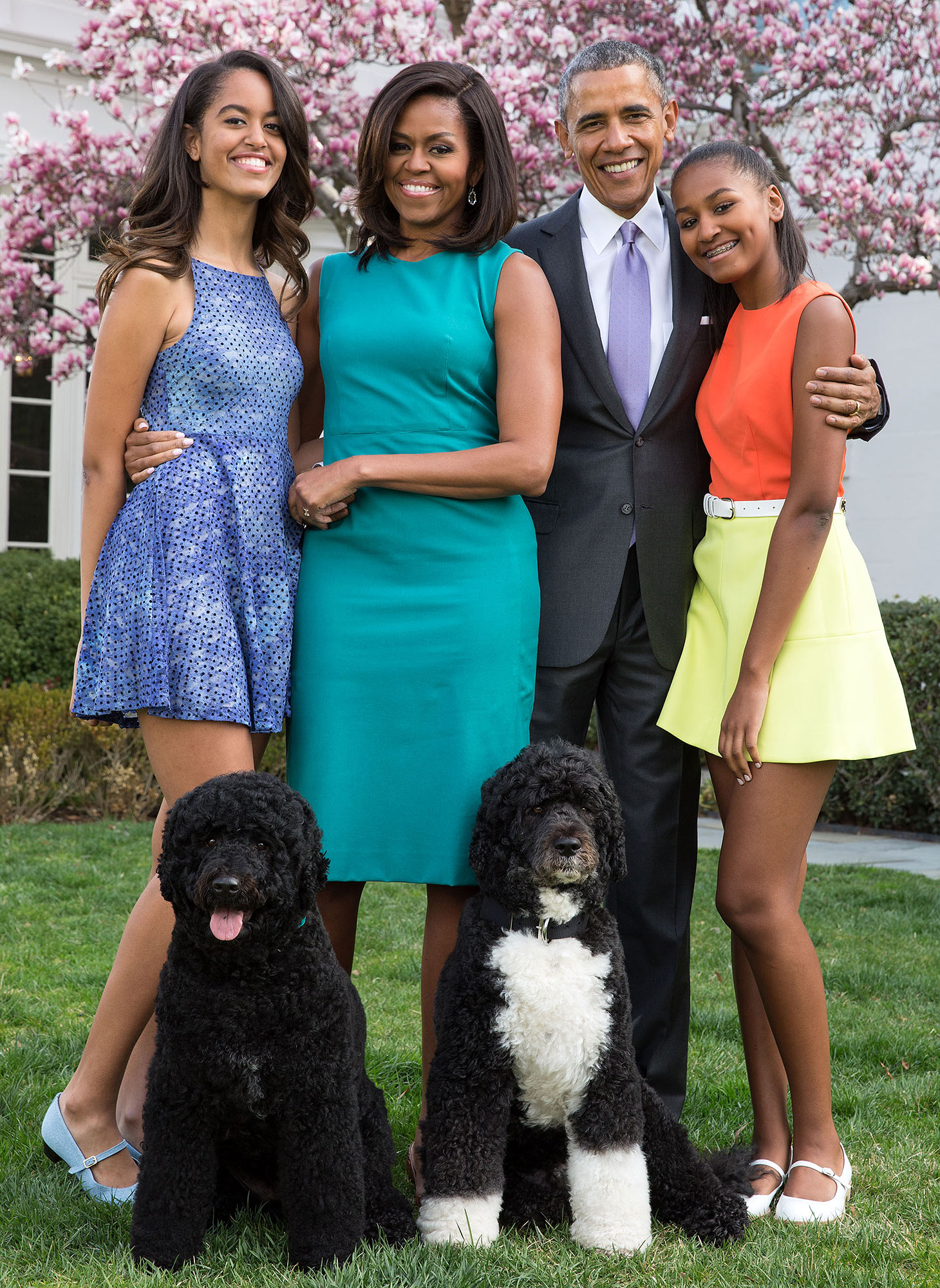 President Barack Obama, First Lady Michelle Obama, and daughters Malia and Sasha