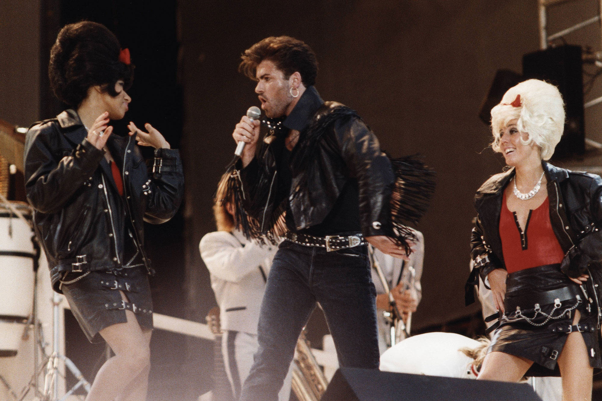 WEMBLEY Photo of PEPSI AND SHIRLIE and George MICHAEL and WHAM!, George Michael w/Pepsi & Shirlie at Wham! Farewell concert
