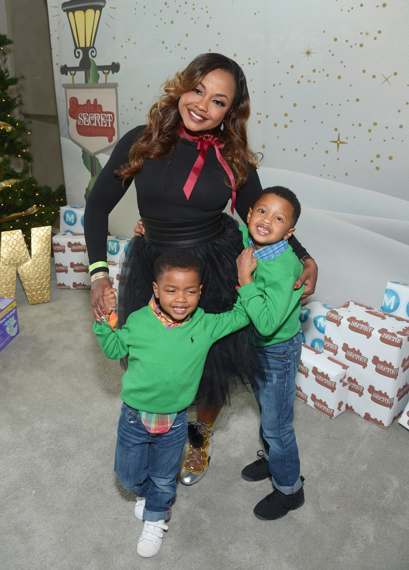 WEST HOLLYWOOD, CA - DECEMBER 03: TV personality Phaedra Parks and her sons Dylan Nida (L) and Ayden Nida attend 6th Annual Santa's Secret Workshop benefitting L.A. Family Housing at Andaz on December 3, 2016 in West Hollywood, California. (Photo by Matt Winkelmeyer/Getty Images for Santa's Secret Workshop 2016)