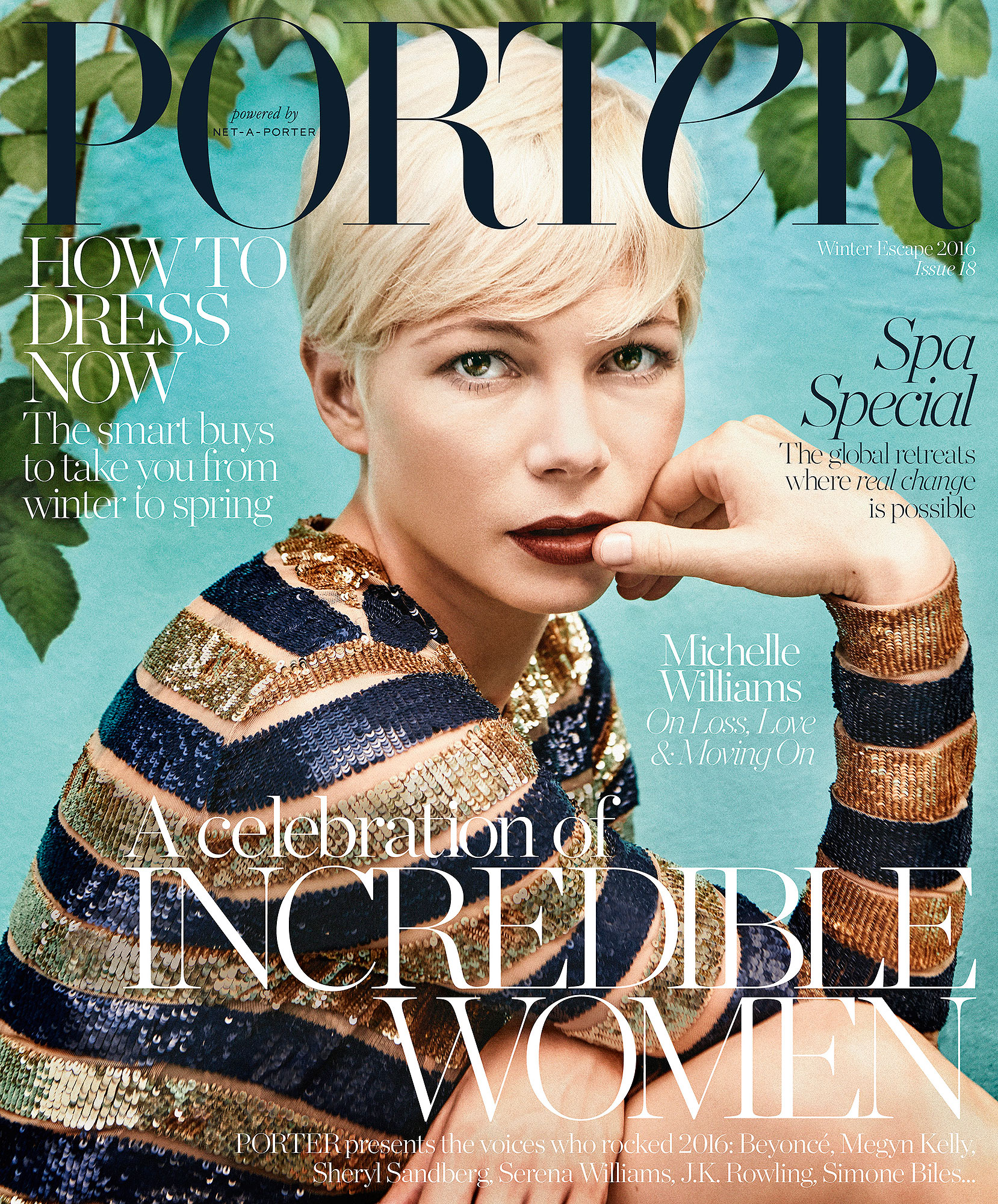 Michelle Williams wears dress by Michael Kors, photographed by Ryan McGinley for PORTER
