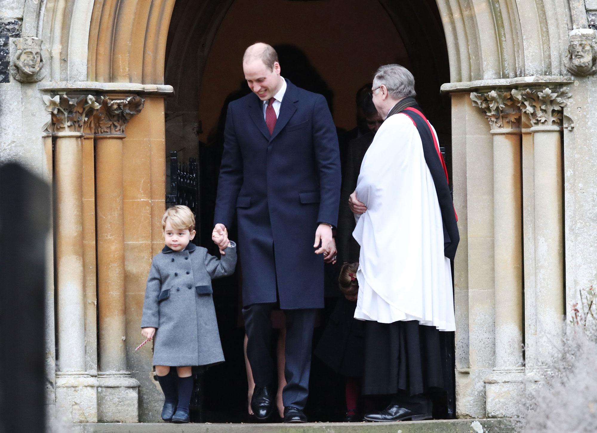 The Duke of Cambridge and Prince George leave following the morning Christmas Day service at St Mark's Church in Englefield, Berkshire. (Photo by Andrew Matthews/PA Images via Getty Images)