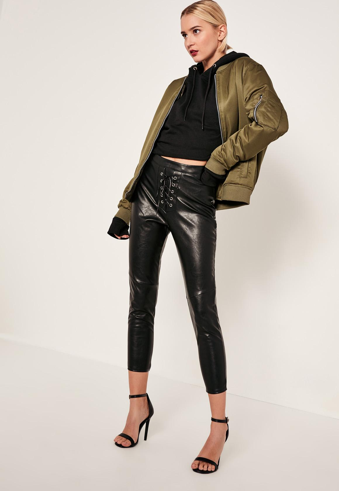 tall-black-faux-leather-high-waisted-lace-up-trousers