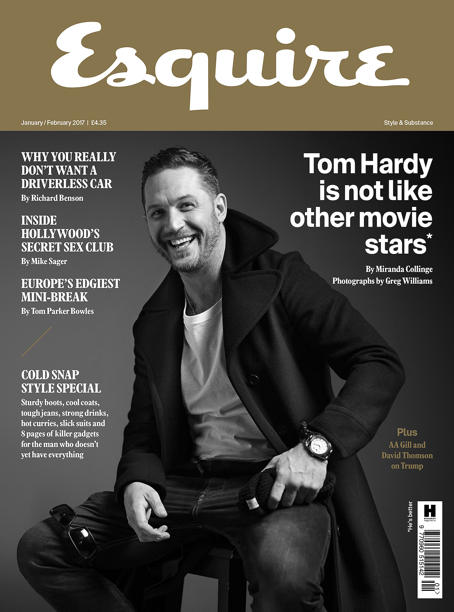 Tom Hardy's interview from Esquire UK - one story on his comments about being a dad and one on his tats.