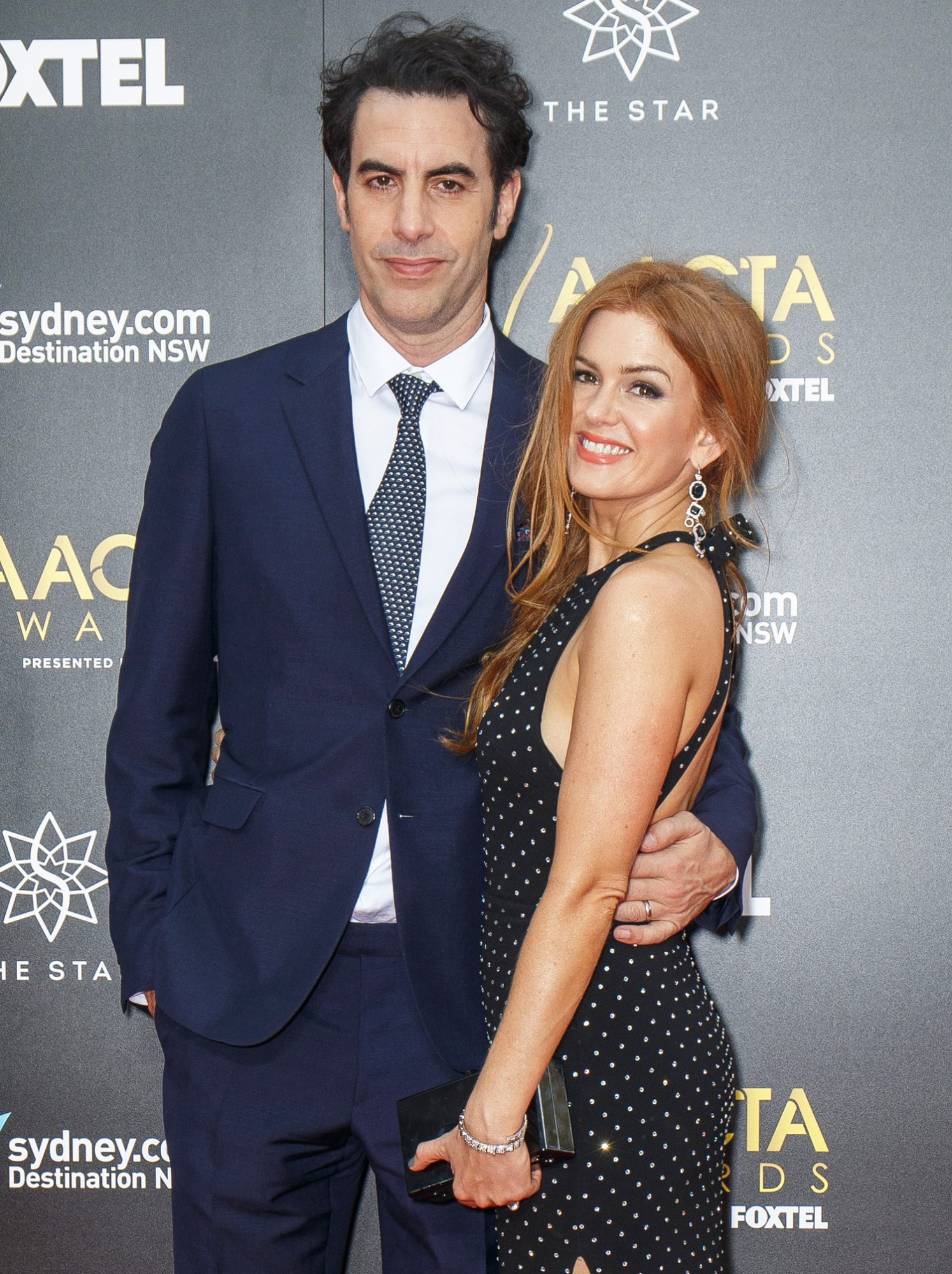 Isla Fisher and Sacha Baron Cohen on Red Carpet for 6th AACTA Awards Ceremony, Sydney