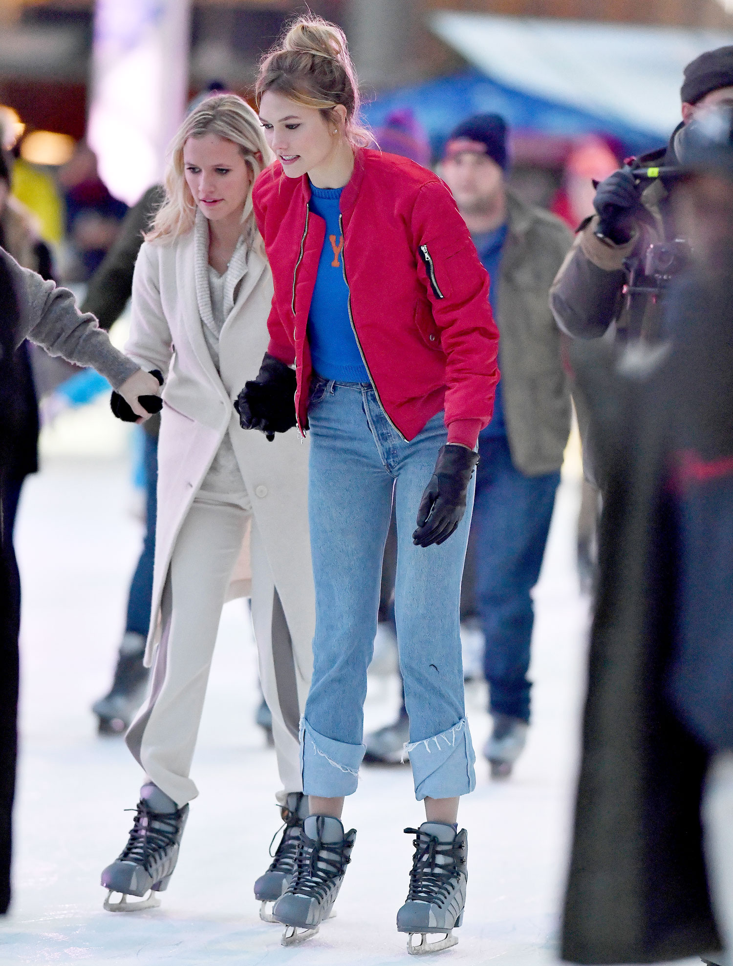 Karlie Kloss goes skating with her mother and sisters at the Winter Village at Bryant Park in New York City