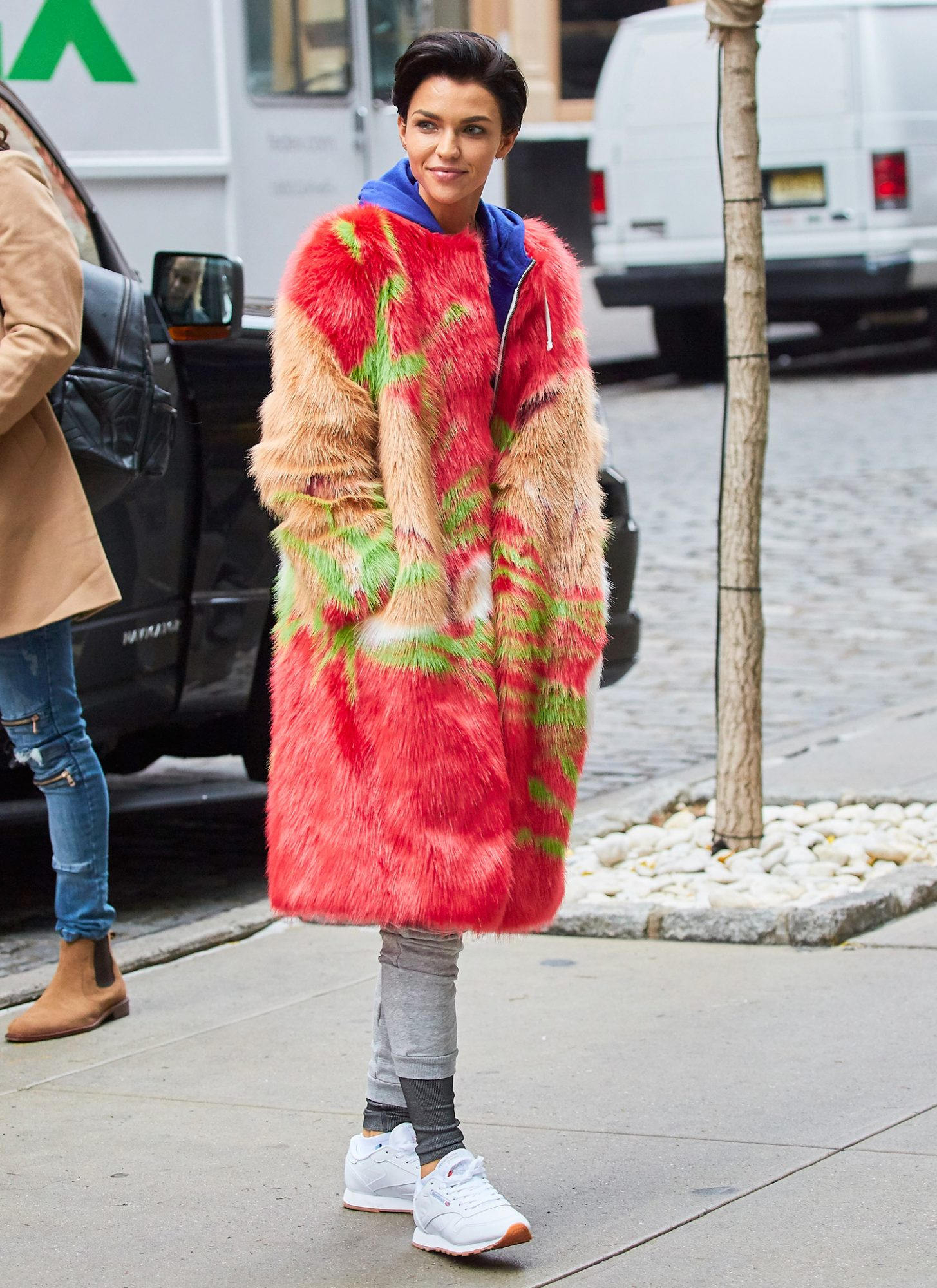 Ruby Rose spotted wearing a quirky colorful coat while out and about in NYC