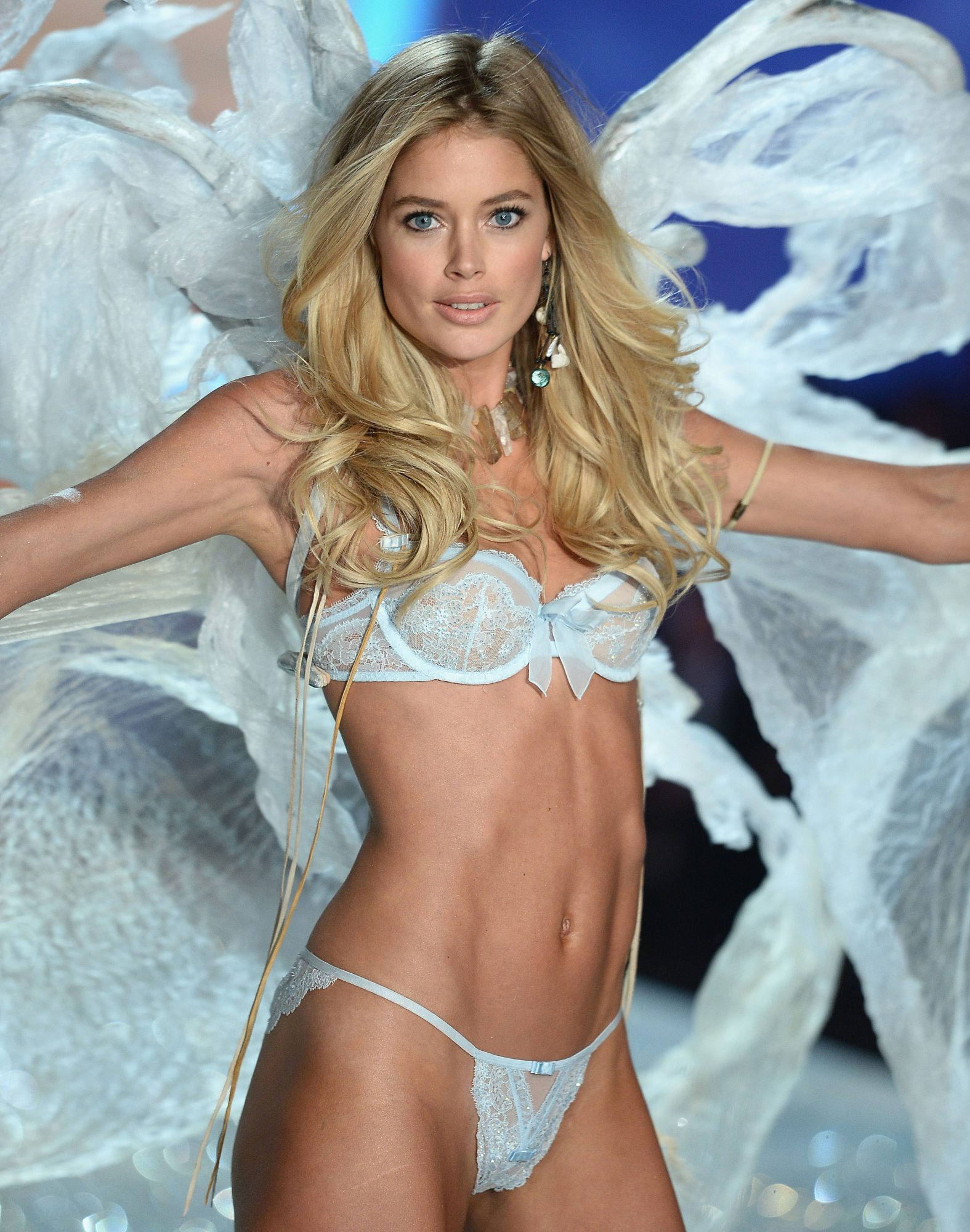 NEW YORK, NY - NOVEMBER 13: Model Doutzen Kroes walks the runway at the 2013 Victoria's Secret Fashion Show at Lexington Avenue Armory on November 13, 2013 in New York City. (Photo by Dimitrios Kambouris/Getty Images for Victoria's Secret)