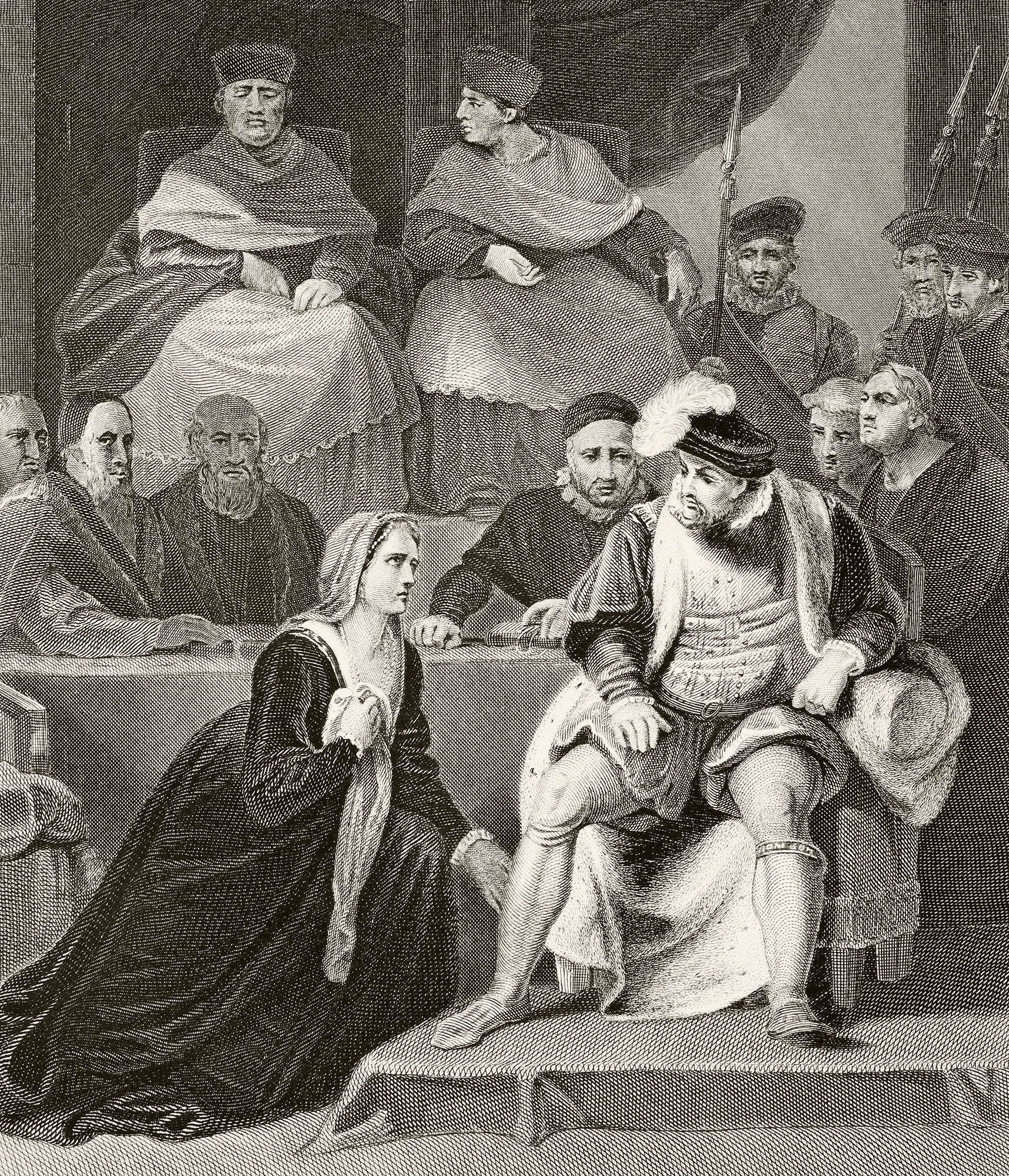 Catherine Of Aragon kneeling before her husband King Henry VIII of England at the trial of their marriage From The National and Domestic History of England by William Aubrey published London circa 1890