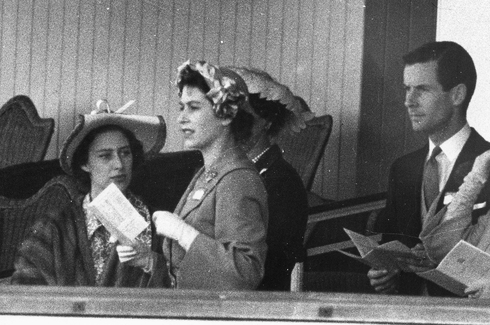 13th June 1951: Princess Margaret (1930 - 2002), Princess Elizabeth and Group Captain Peter Townsend in the Royal Box at Ascot. In 1955 Princess Margaret was refused permission to marry Townsend, a divorced Royal Air Force captain. (Photo by Keystone/Getty Images)