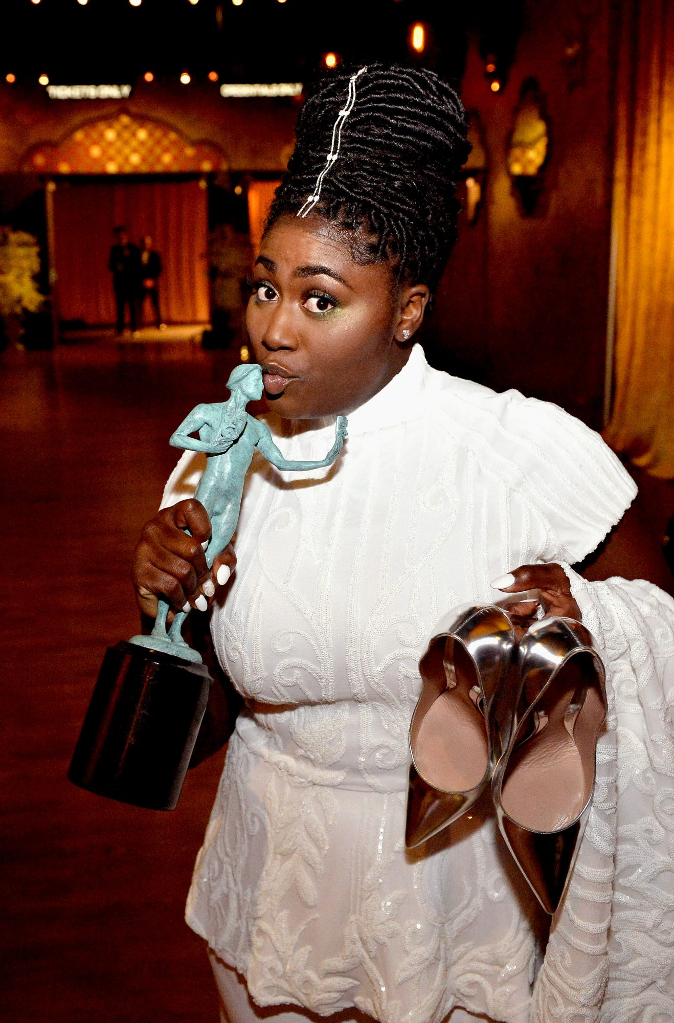 LOS ANGELES, CA - JANUARY 29: Actor Danielle Brooks, winner of the Outstanding Ensemble in a Comedy Series award of 'Orange Is the New Black,' pose with award during The 23rd Annual Screen Actors Guild Awards at The Shrine Auditorium on January 29, 2017 in Los Angeles, California. 26592_011 (Photo by Stefanie Keenan/Getty Images for TNT)