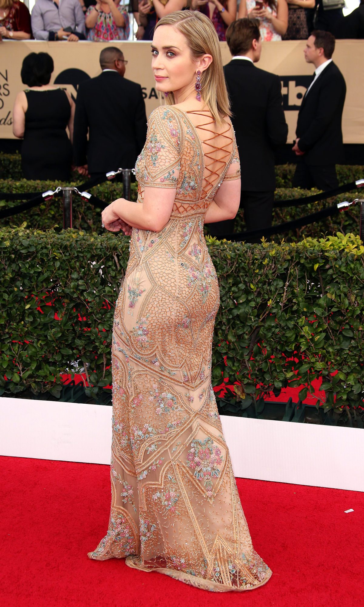 Jan 29, 2017; Los Angeles, CA, USA; Emily Blunt arrives at the 23rd Annual Screen Actors Guild Awards at the Shrine Auditorium. Mandatory Credit: Dan MacMedan-USA TODAY NETWORK *** Please Use Credit from Credit Field ***