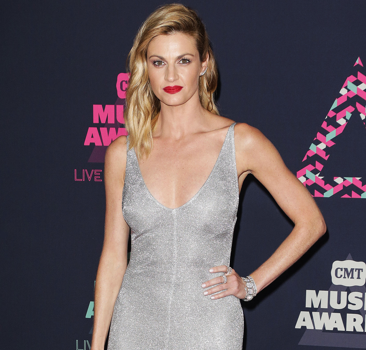 Erin Andrews wows in a Dazzling Outfit as she arrives at 2016 CMT Music Awards Pink carpet
