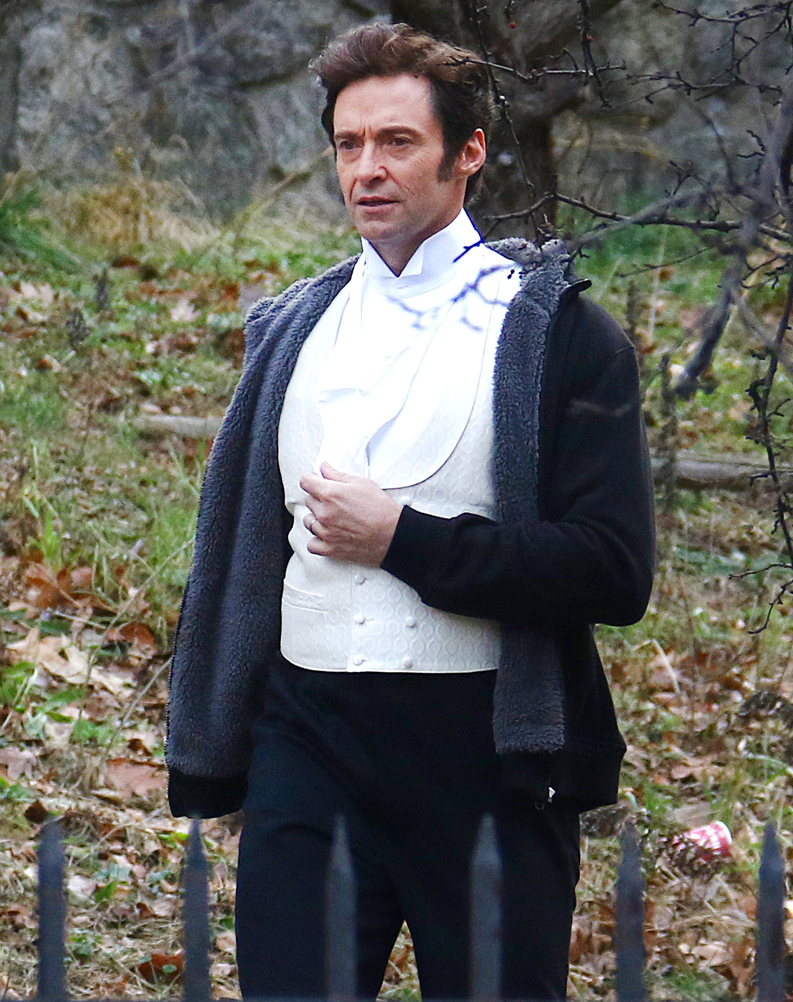EXCLUSIVE: Actor and Producer Hugh Jackman makes his way on The Greatest Showman Brooklyn set