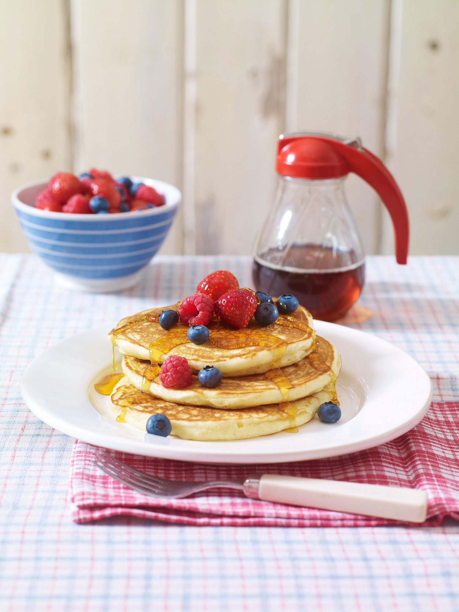Buttermilk pancakes with summer berries