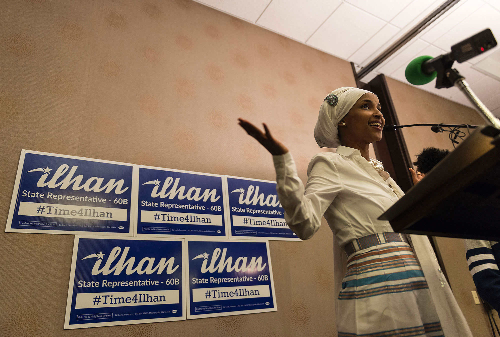 Ilhan Omar, candidate for State Representative for District 60B in Minnesota, gives an acceptance speech on election night, November 8, 2016 in Minneapolis, Minnesota. Omar, a refugee from Somalia, is the first Somali-American Muslim woman to hold public office. / AFP / STEPHEN MATUREN (Photo credit should read STEPHEN MATUREN/AFP/Getty Images)