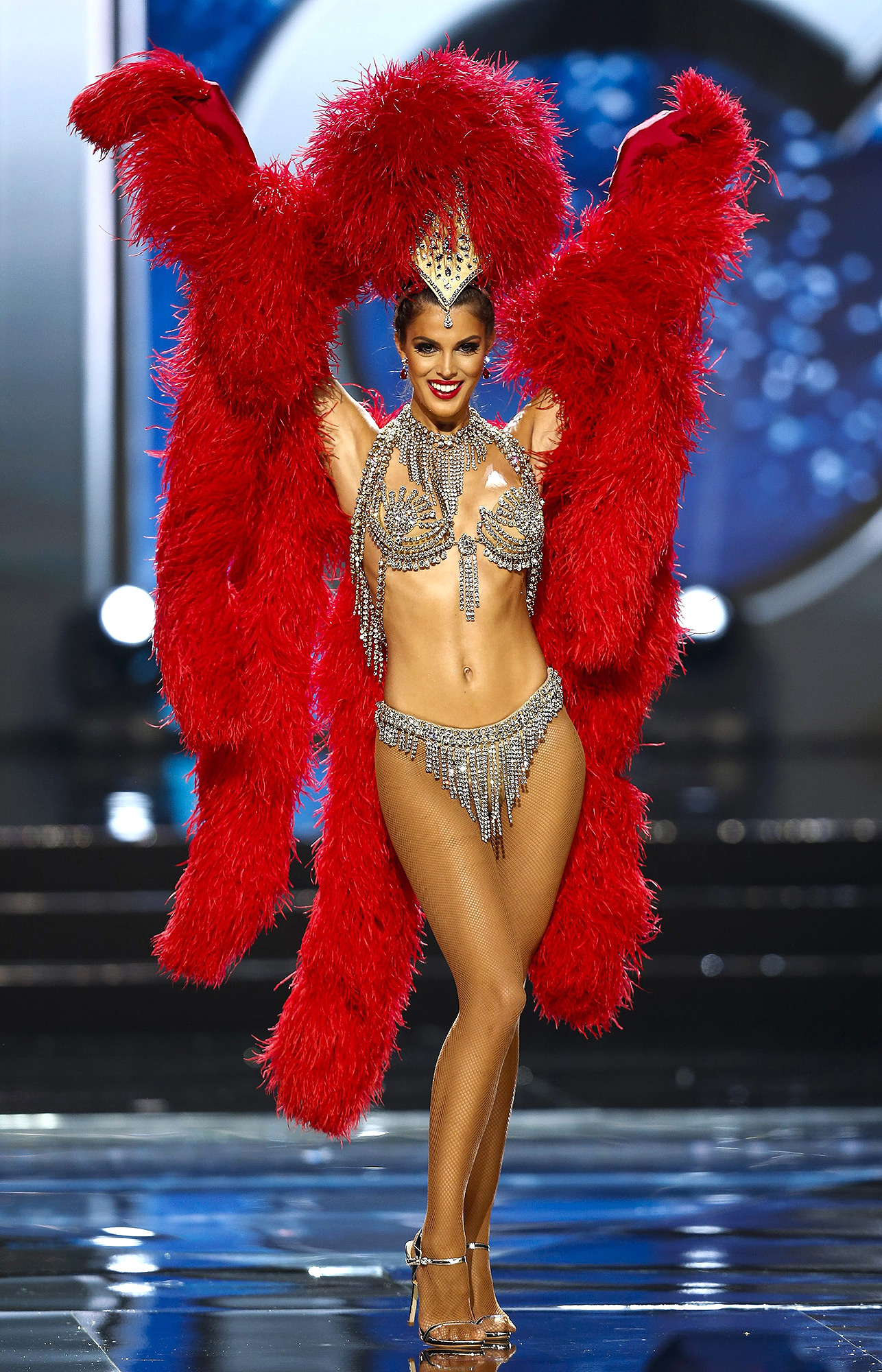 epa05752968 Miss Universe candidate Iris Mittenaere from France walks on stage in her national costume during the Miss Universe preliminary show at the Mall of Asia Arena in Pasay City, south of Manila, Philippines 26 January 2017. A total of 86 candidates are vying for the 65th Miss Universe crown, with the coronation event scheduled for 30 January.  EPA/ROLEX DELA PENA EPA  ROL35 PHILIPPINES MISS UNIVERSE