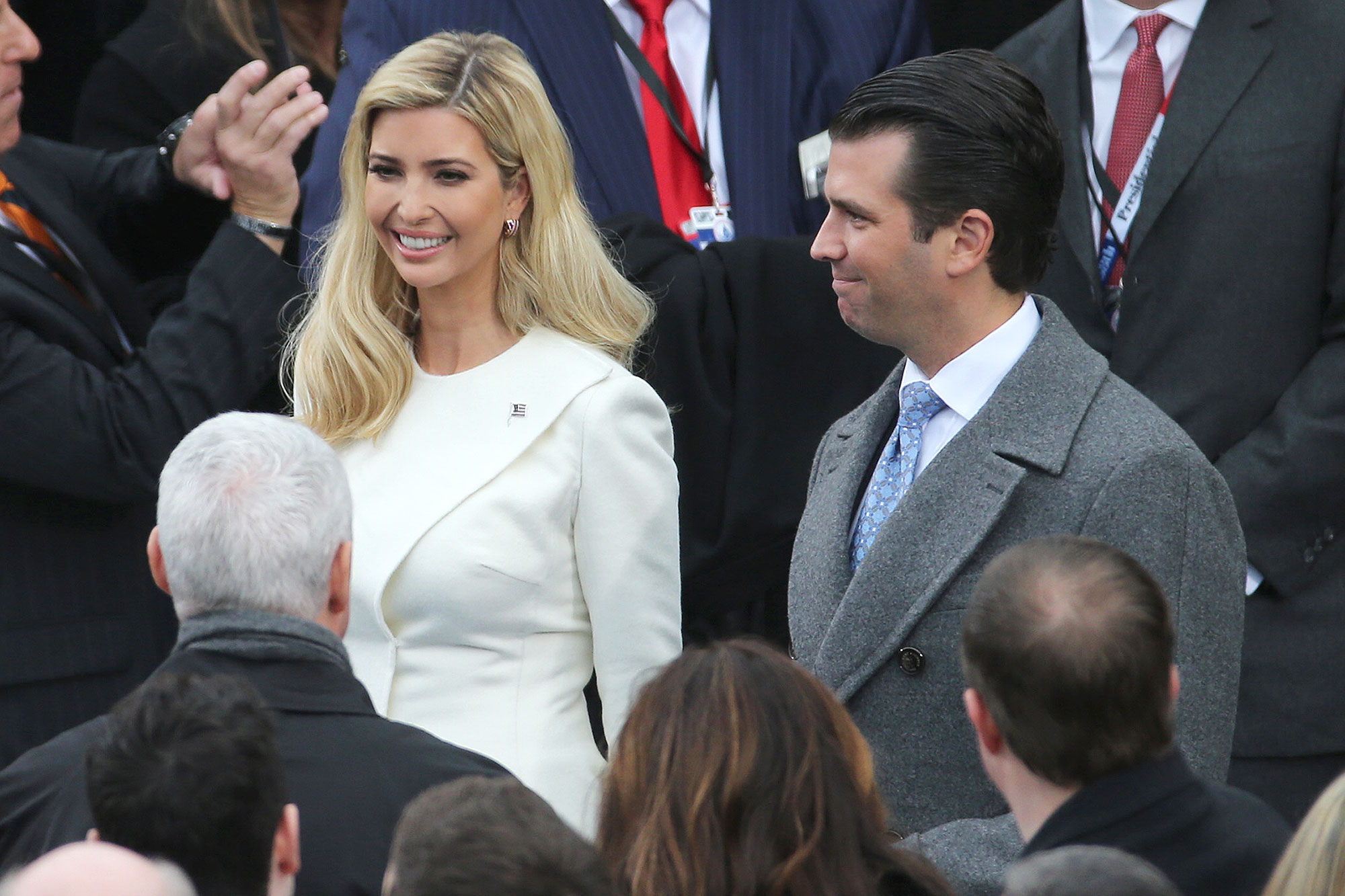 Ivanka Trump, daughter of U.S. President-elect Donald Trump, center left, and Donald Trump Jr., son of U.S. President-elect Donald Trump, center right, arrive for the 58th presidential inauguration in Washington, D.C., U.S., on Friday, Jan. 20, 2017. Trump will become the 45th president of the United States today, in a celebration of American unity for a country that is anything but unified. Photographer: Andrew Harrer/Bloomberg via Getty Images