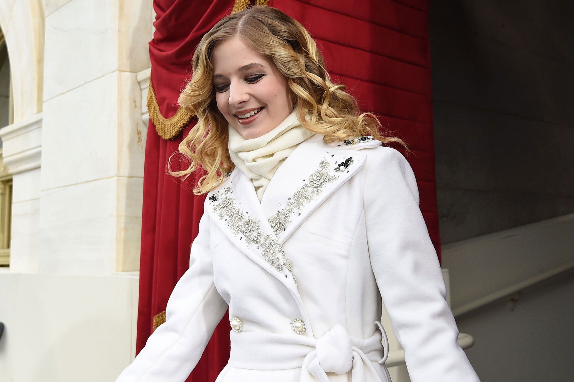 Singer Jackie Evancho arrives for the Presidential Inauguration of Donald Trump at the US Capitol in Washington, DC, January 20, 2017. / AFP / POOL / SAUL LOEB (Photo credit should read SAUL LOEB/AFP/Getty Images)